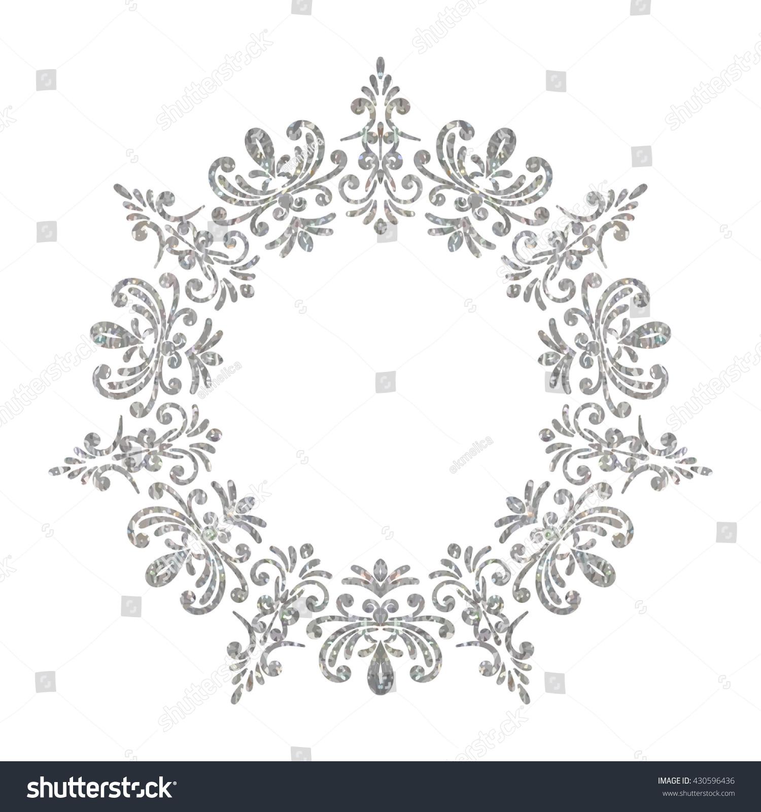 elegant luxury vintage circle silver floral stock