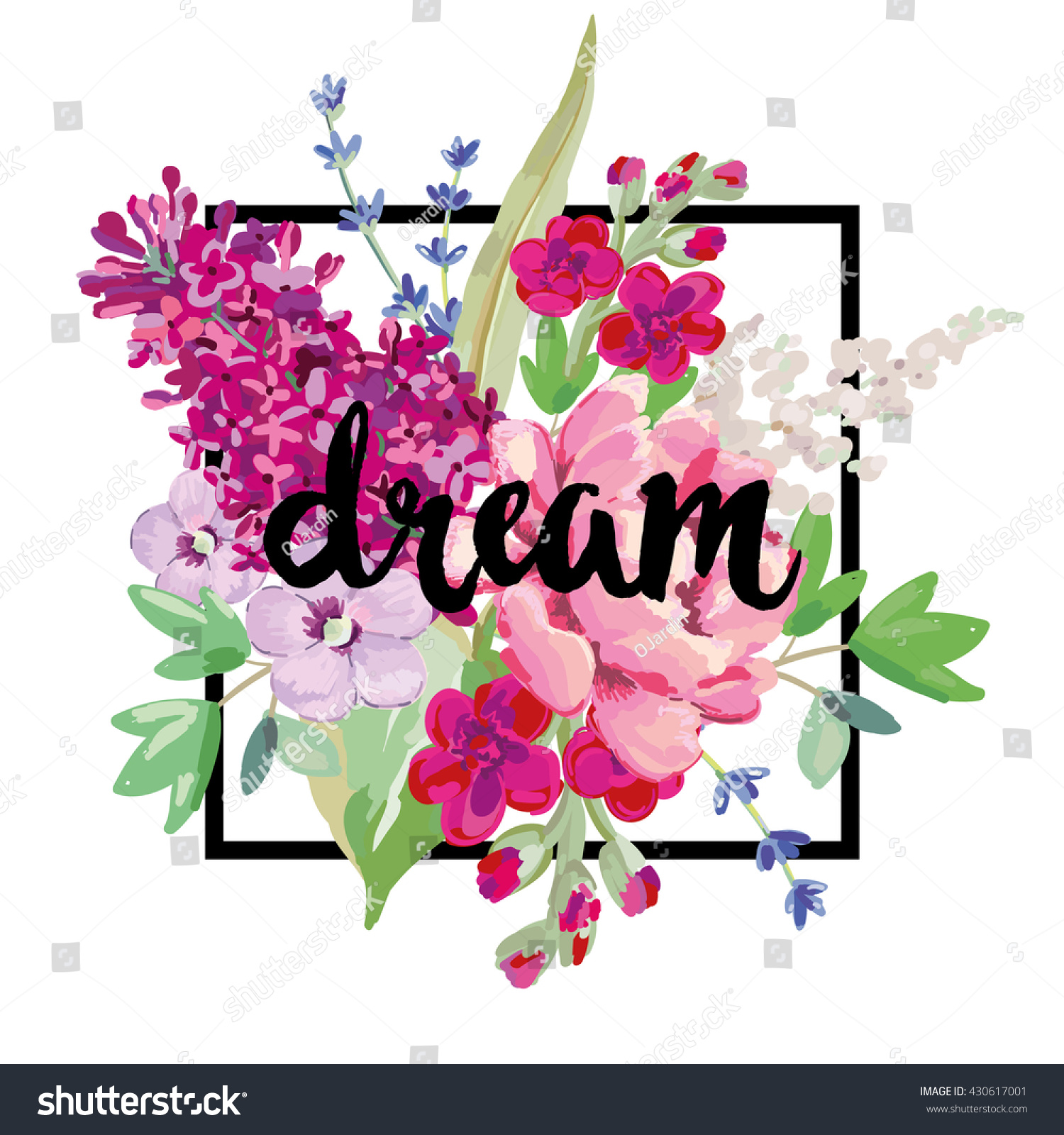 Bouquet Pink Purple Flowers Vector Print Stock Vector Royalty Free