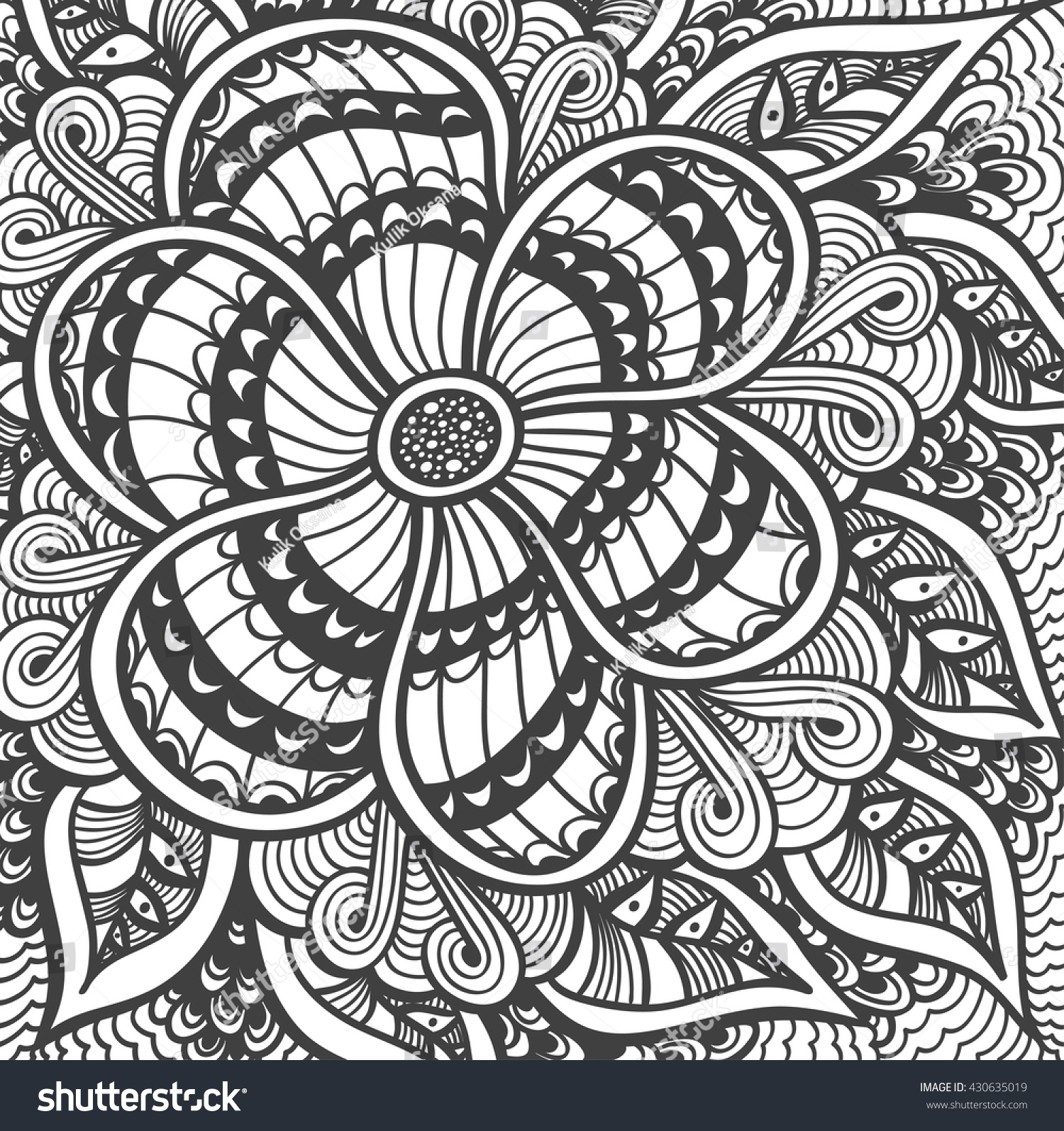 Background With Zen Doodle Flowers Or Tangle Pattern Black On White For Coloring Page