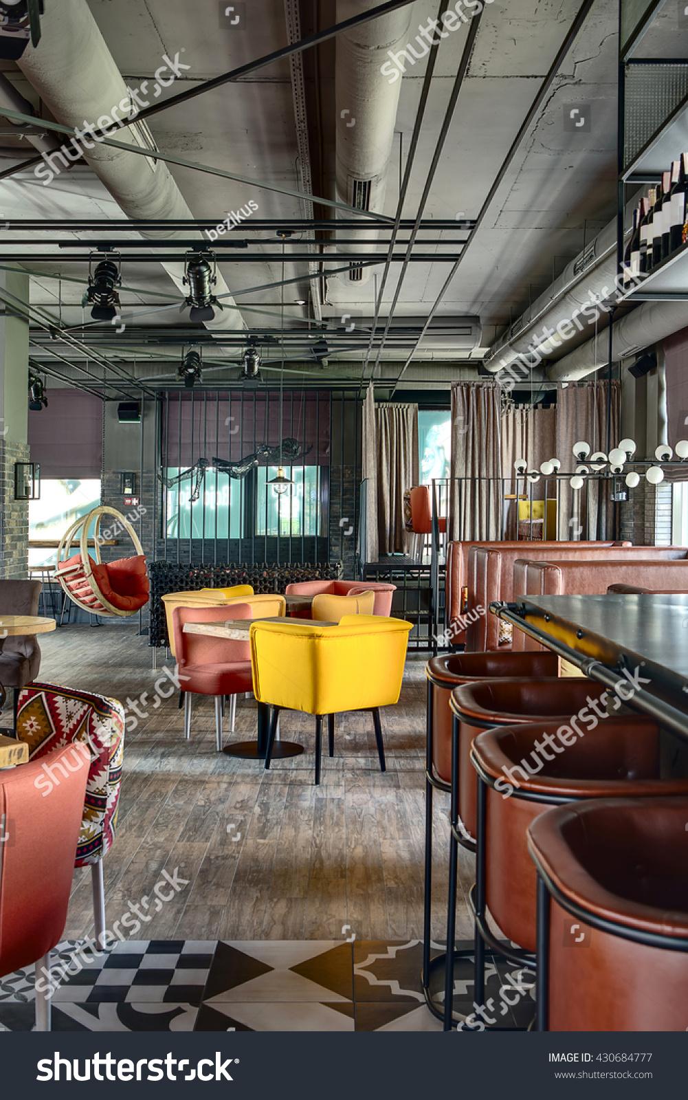Hall mexican restaurant loft style centre stock photo for Cuisine loft