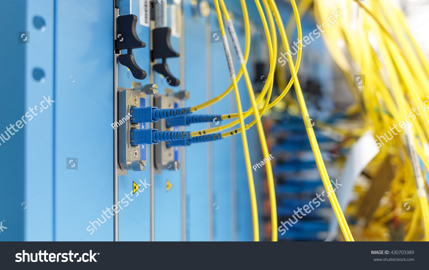 Optic Fiber Cables Connected Data Center Stock Photo (100% Legal ...