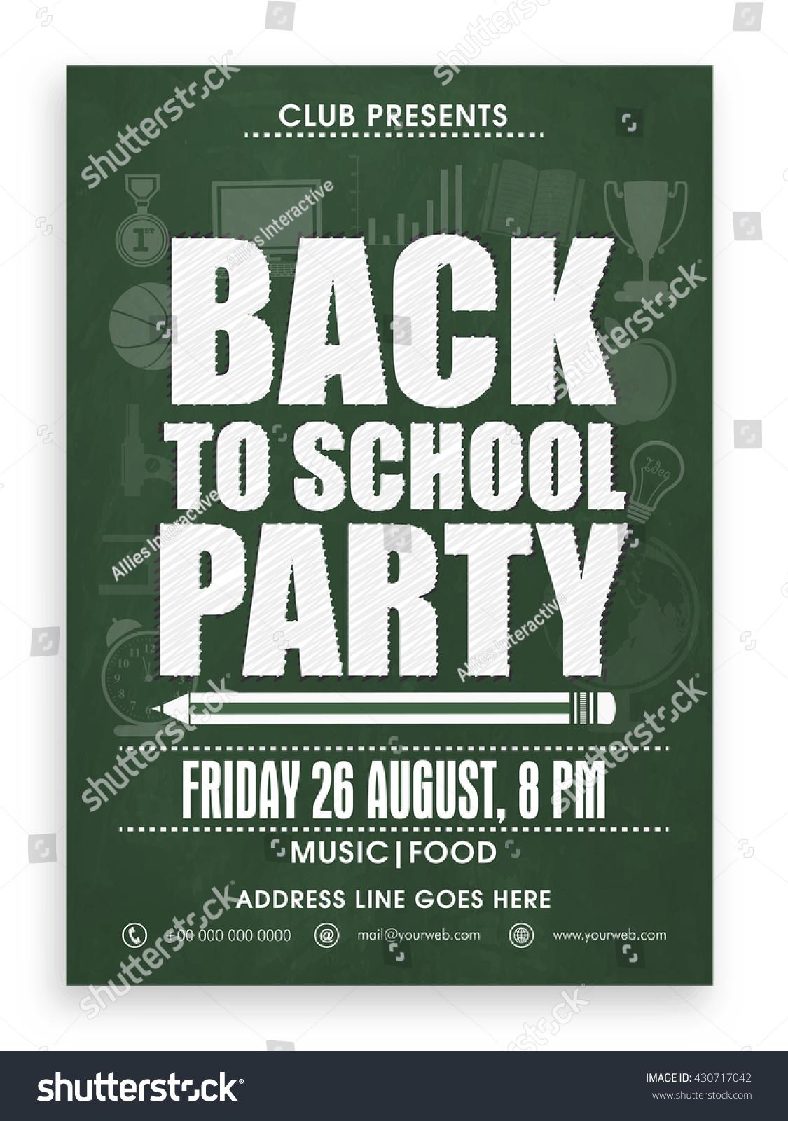 back school party template banner flyer stock vector 430717042 shutterstock. Black Bedroom Furniture Sets. Home Design Ideas