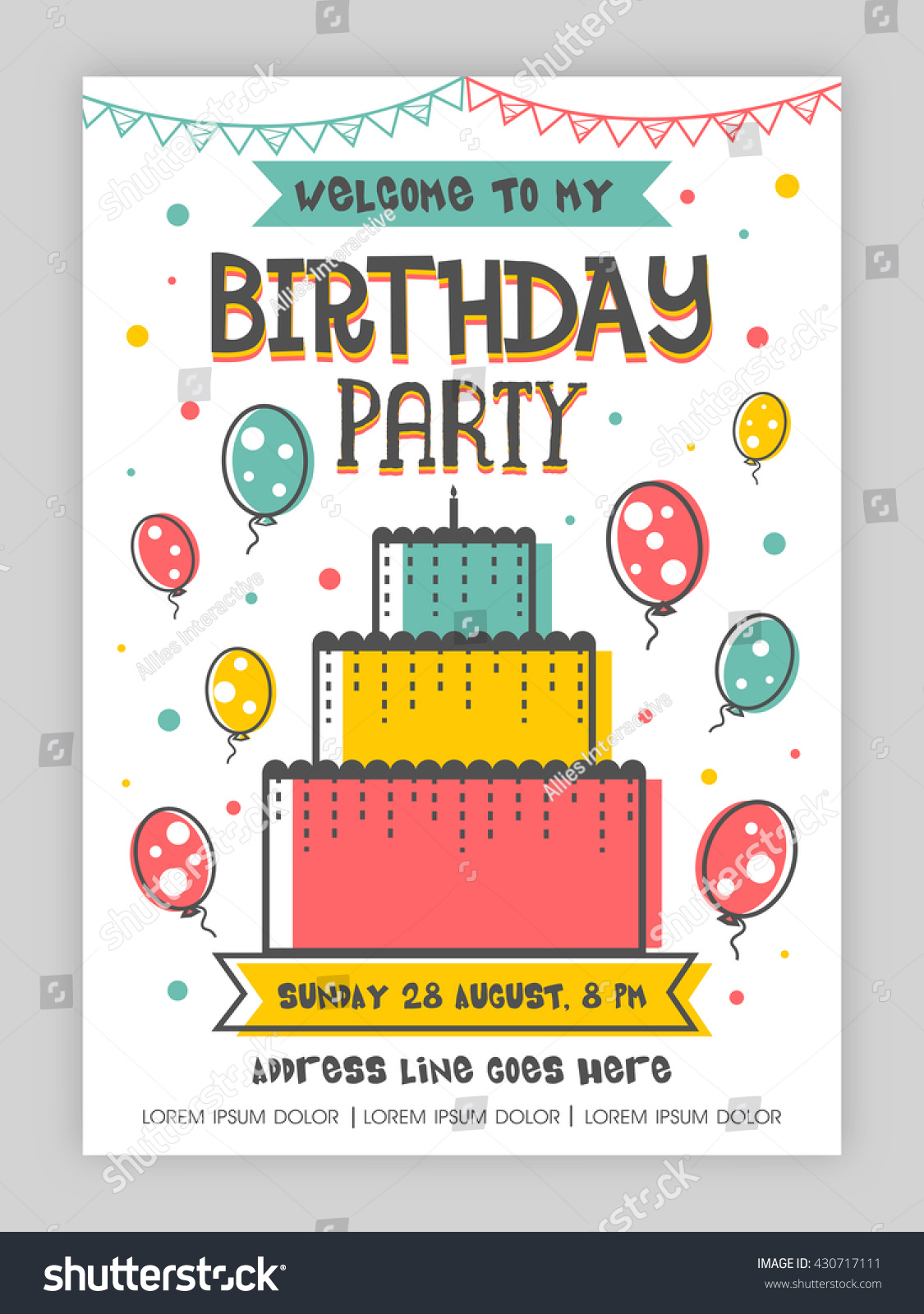 Birthday Party Invitation Card Welcome Card Stock Vector (Royalty