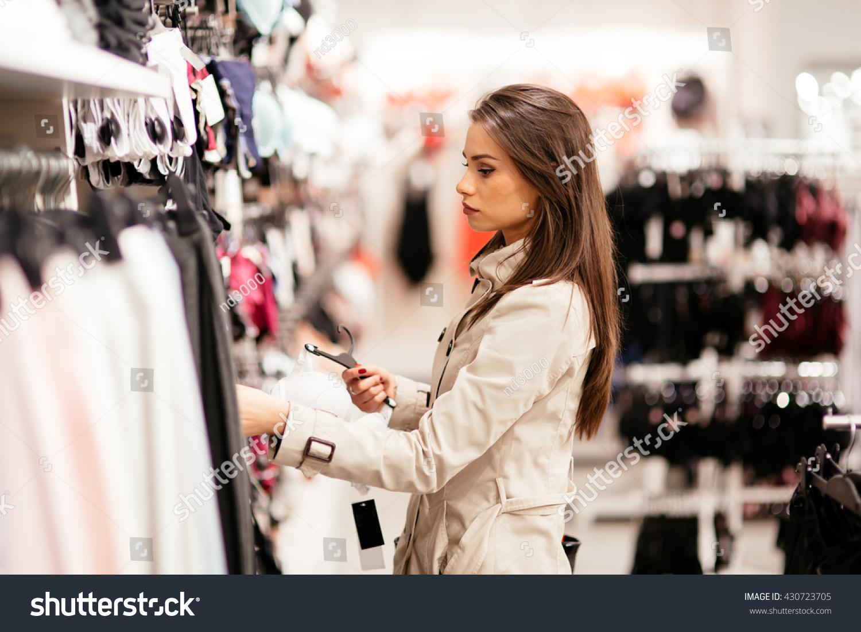 Beautiful Woman Shopping Sexy Lingerie Stock Photo 430723705 ...