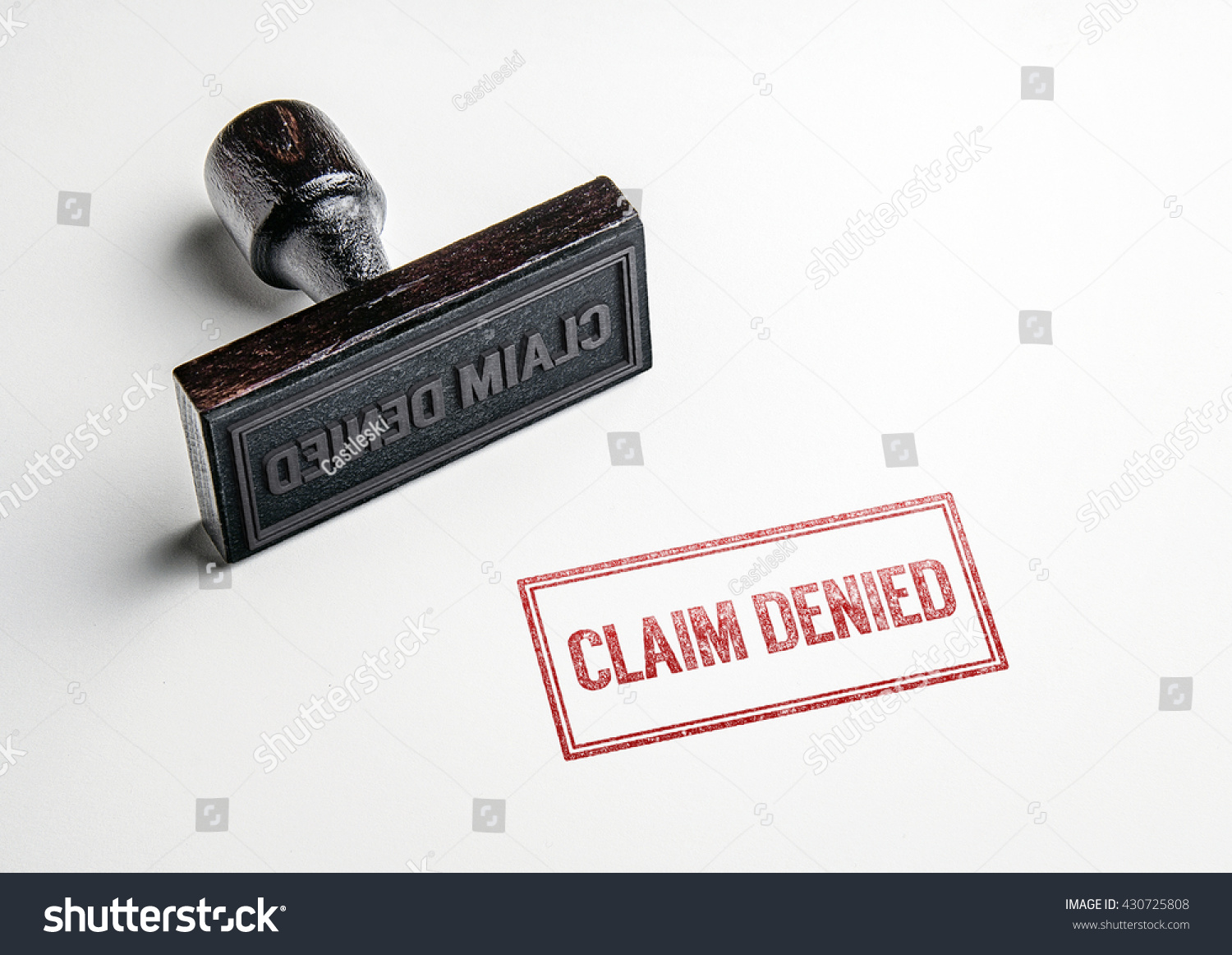 Rubber stamping that says Claim Denied'