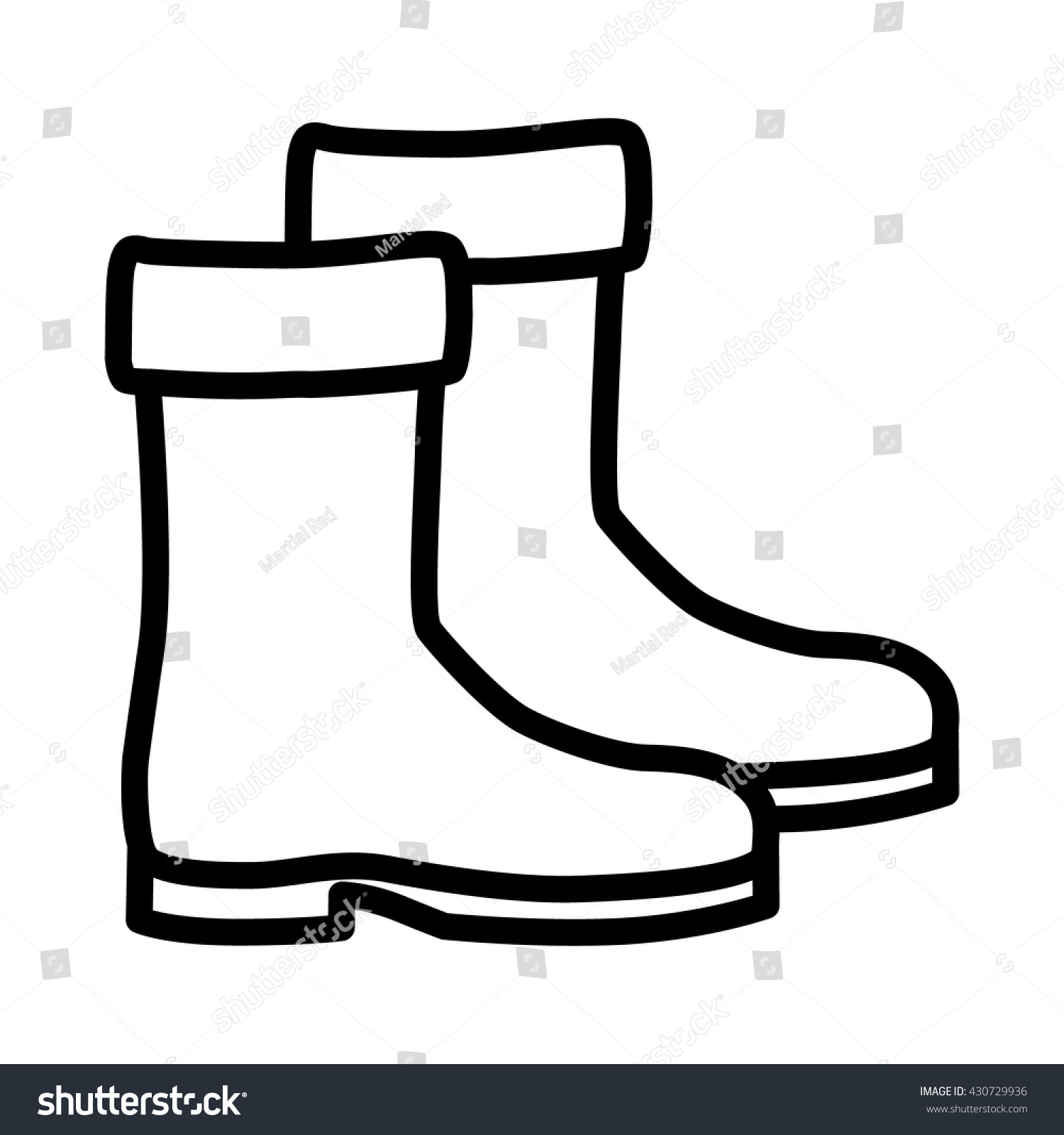 Pair Medieval Shoes Boots Line Art Stock Vector 430729936 ...