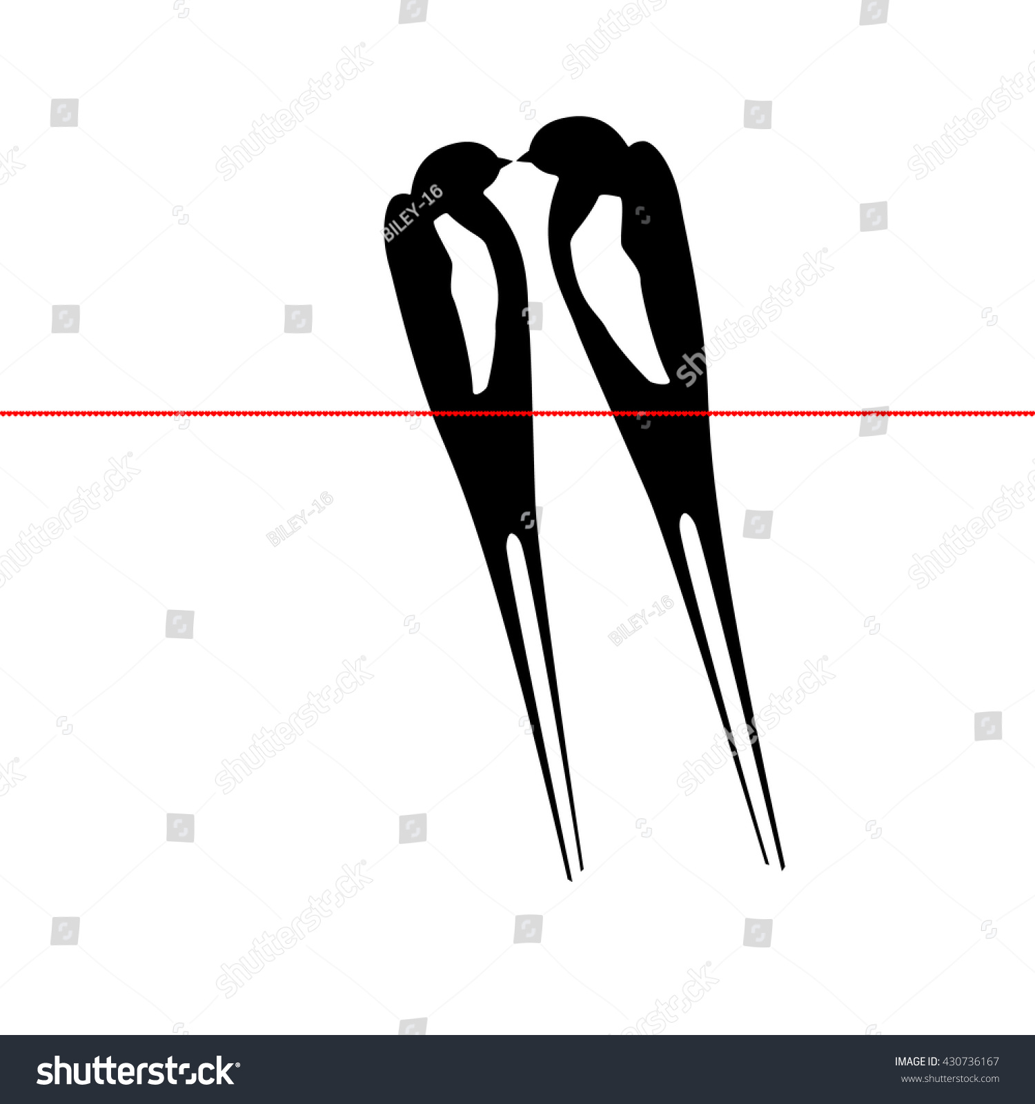 Love Birds On A Wire Silhouette