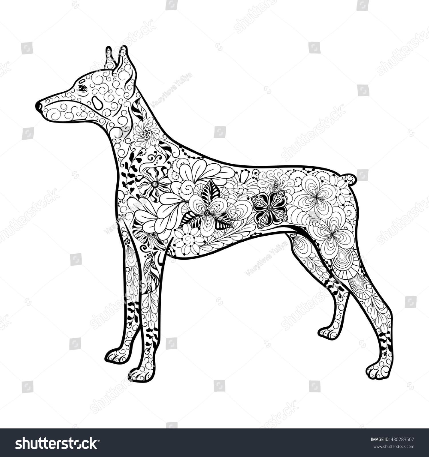doberman coloring pages - illustration doberman dog created doodling style stock