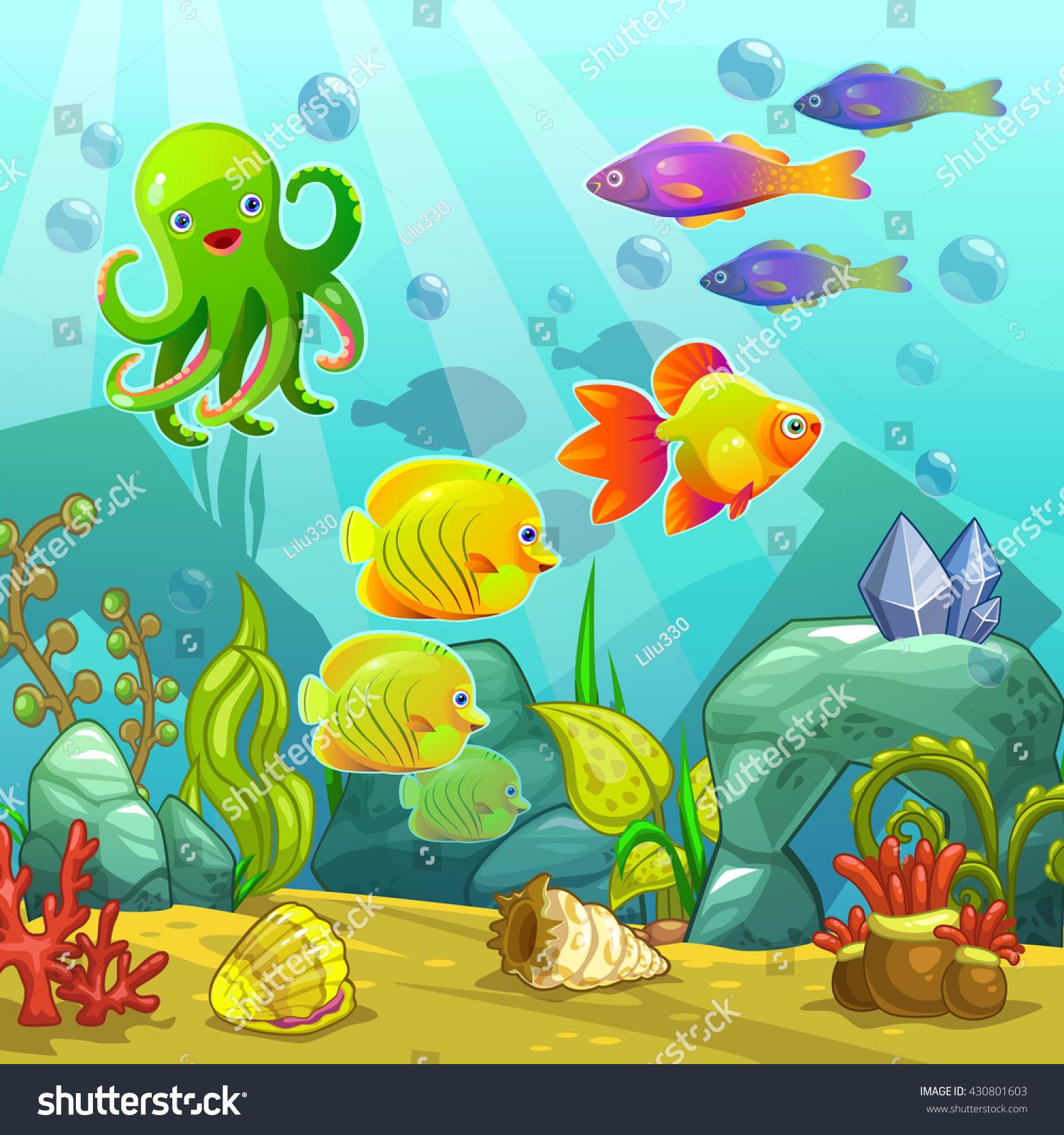 Cartoon Underwater Landscape Vector Undersea Illustration ...