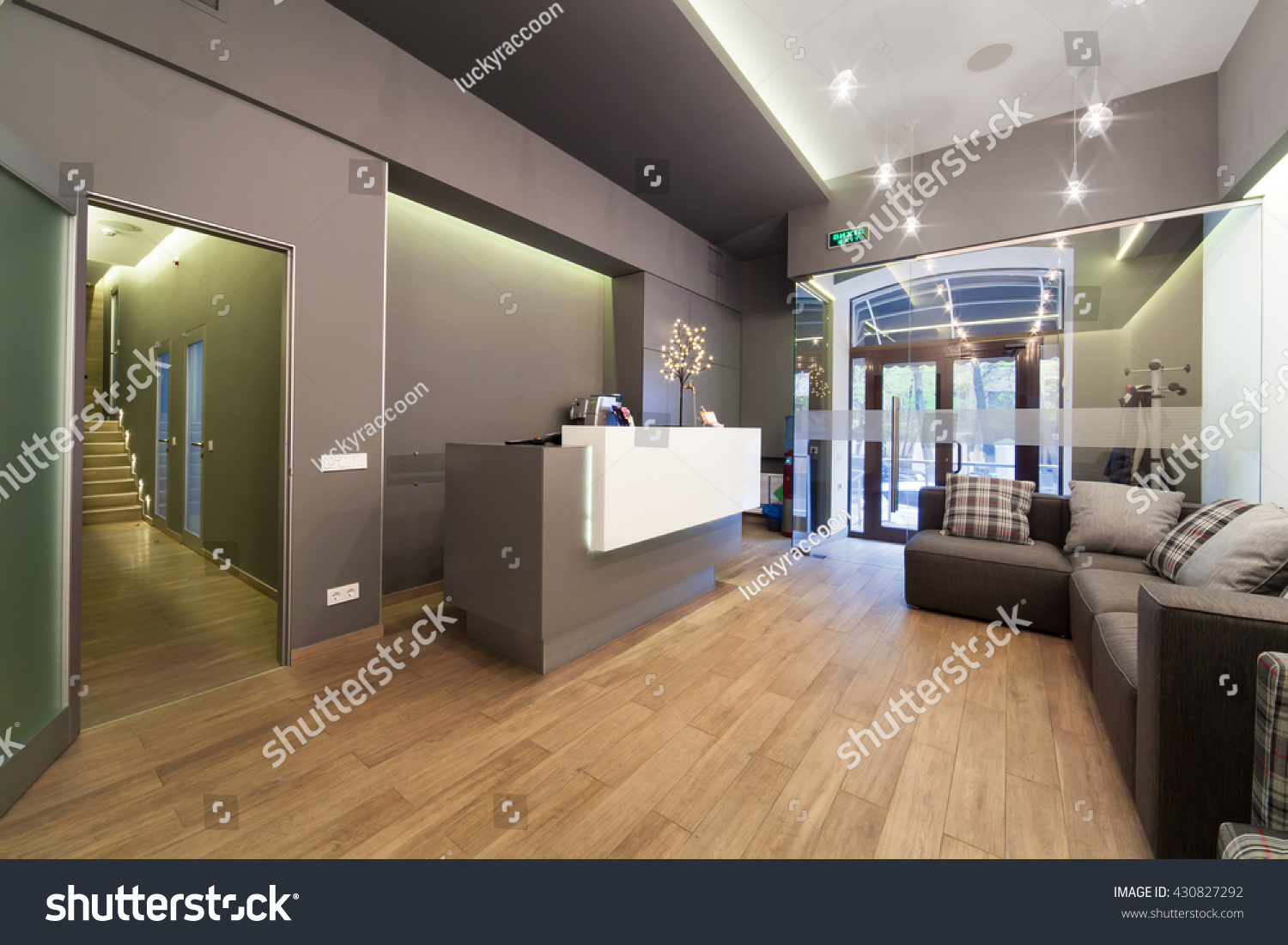 Modern interior design lobby dental clinic stock photo for Dental clinic interior designs