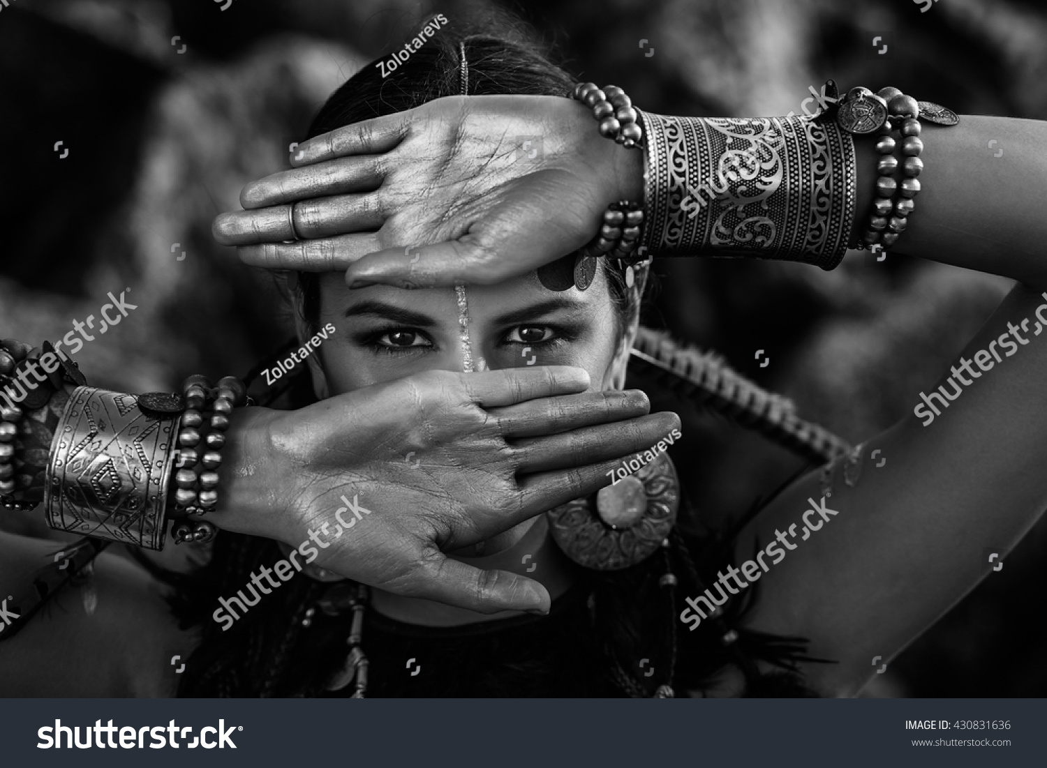 tribal woman close up black and white portrait