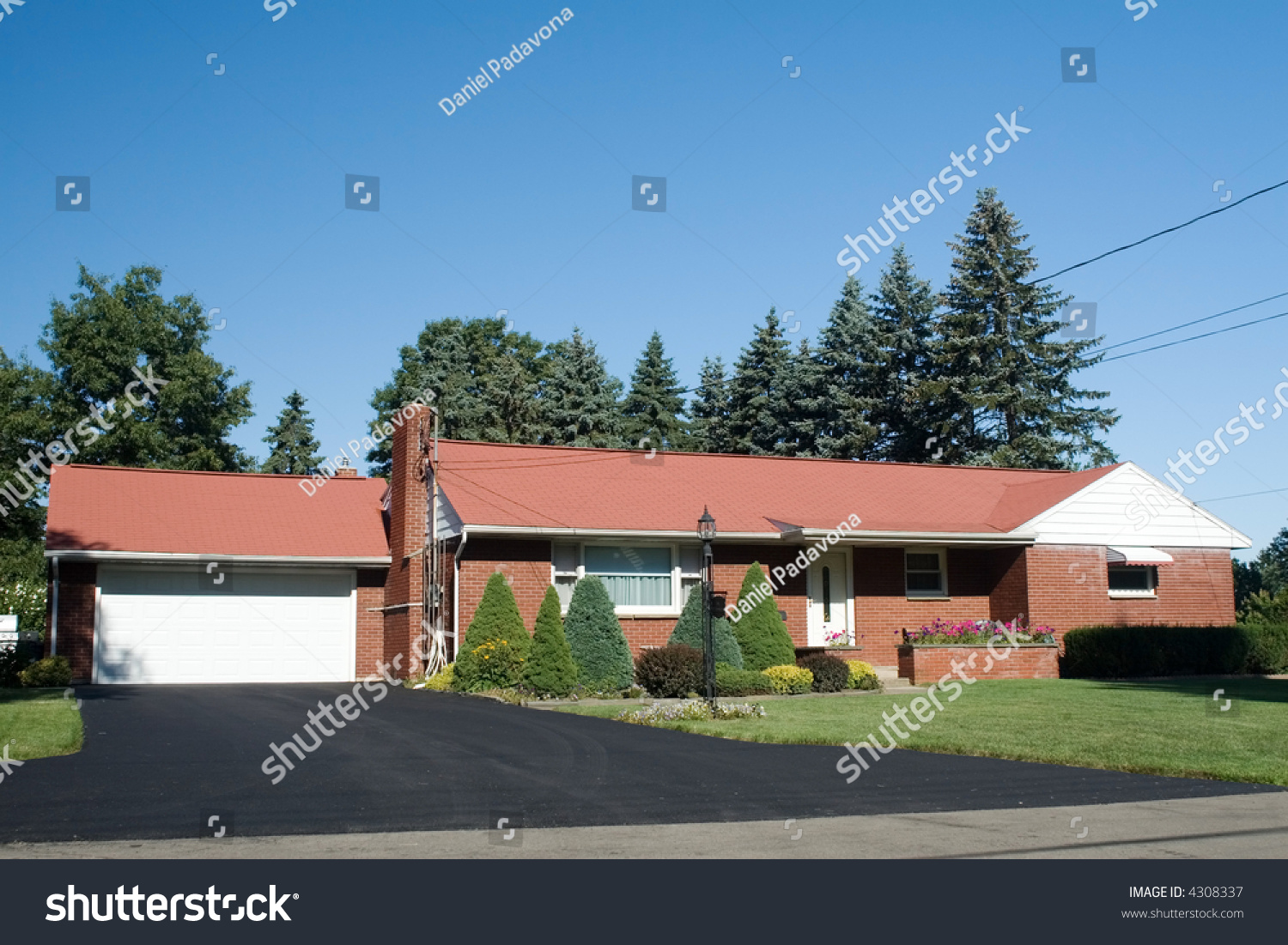 American one story ranch style house stock photo 4308337 for One story ranch house