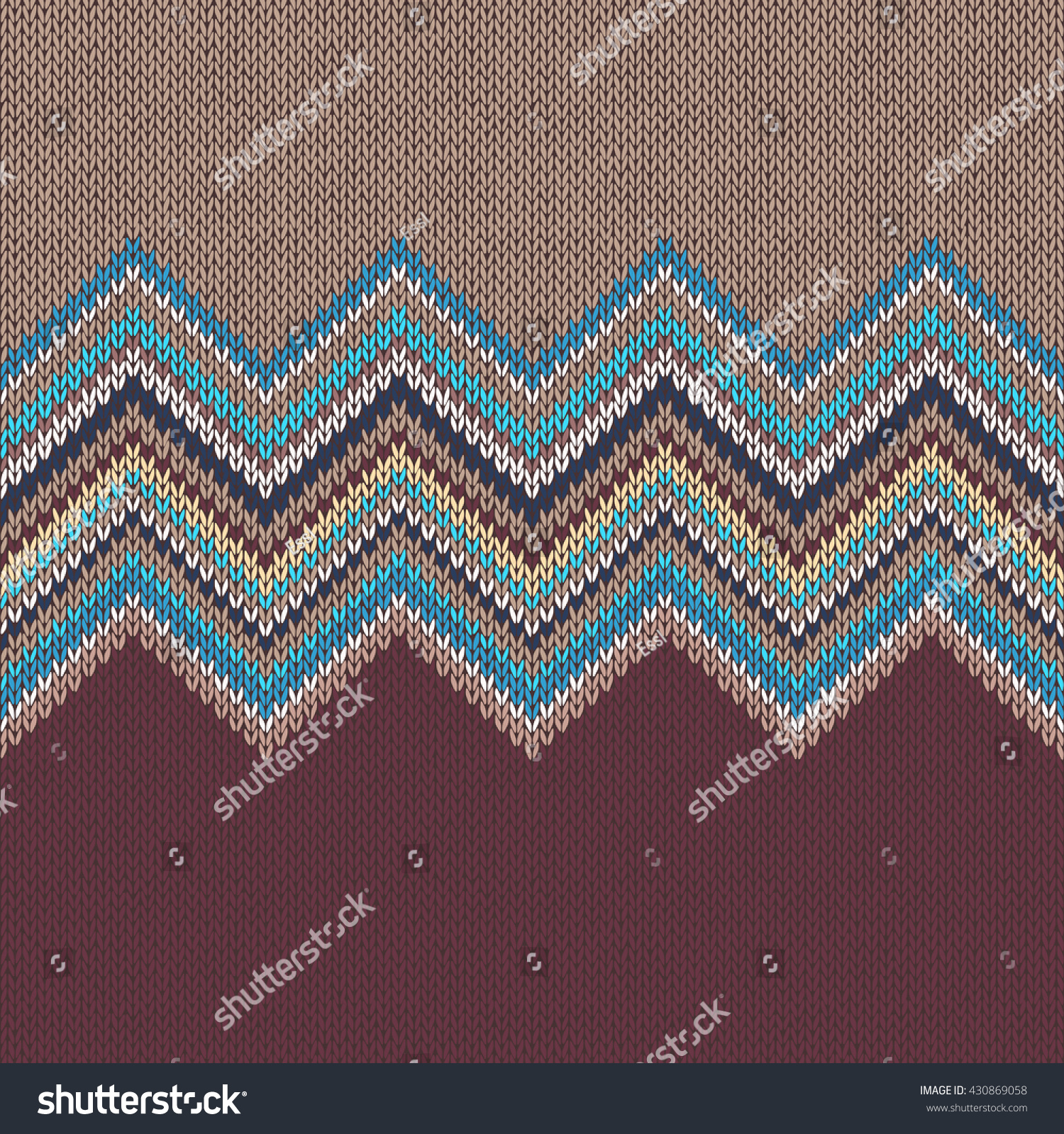 Seamless Knitting Pattern Wave Ornament Brown Stock Vector 430869058 ...