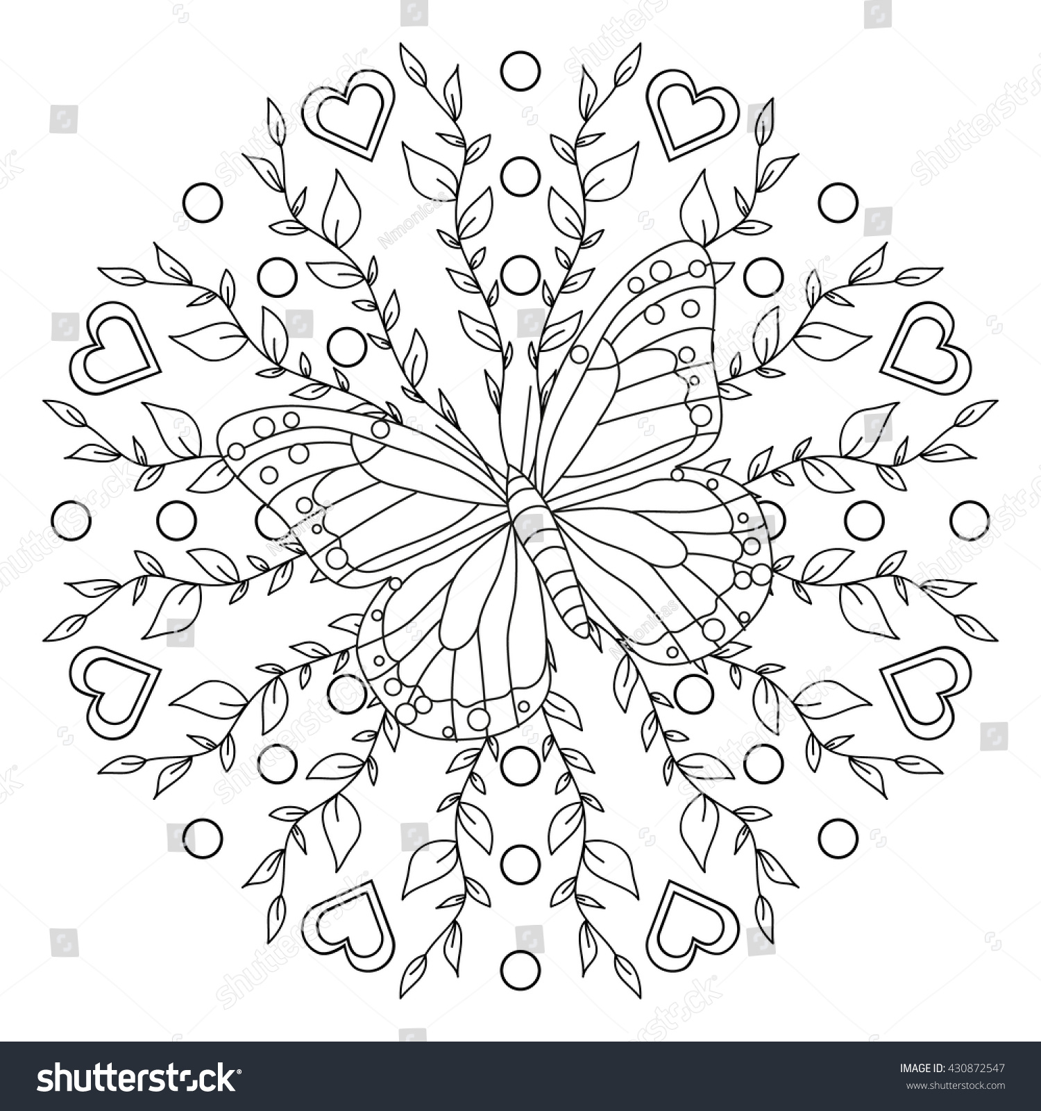coloring page butterfly mandala stock vector 430872547 shutterstock