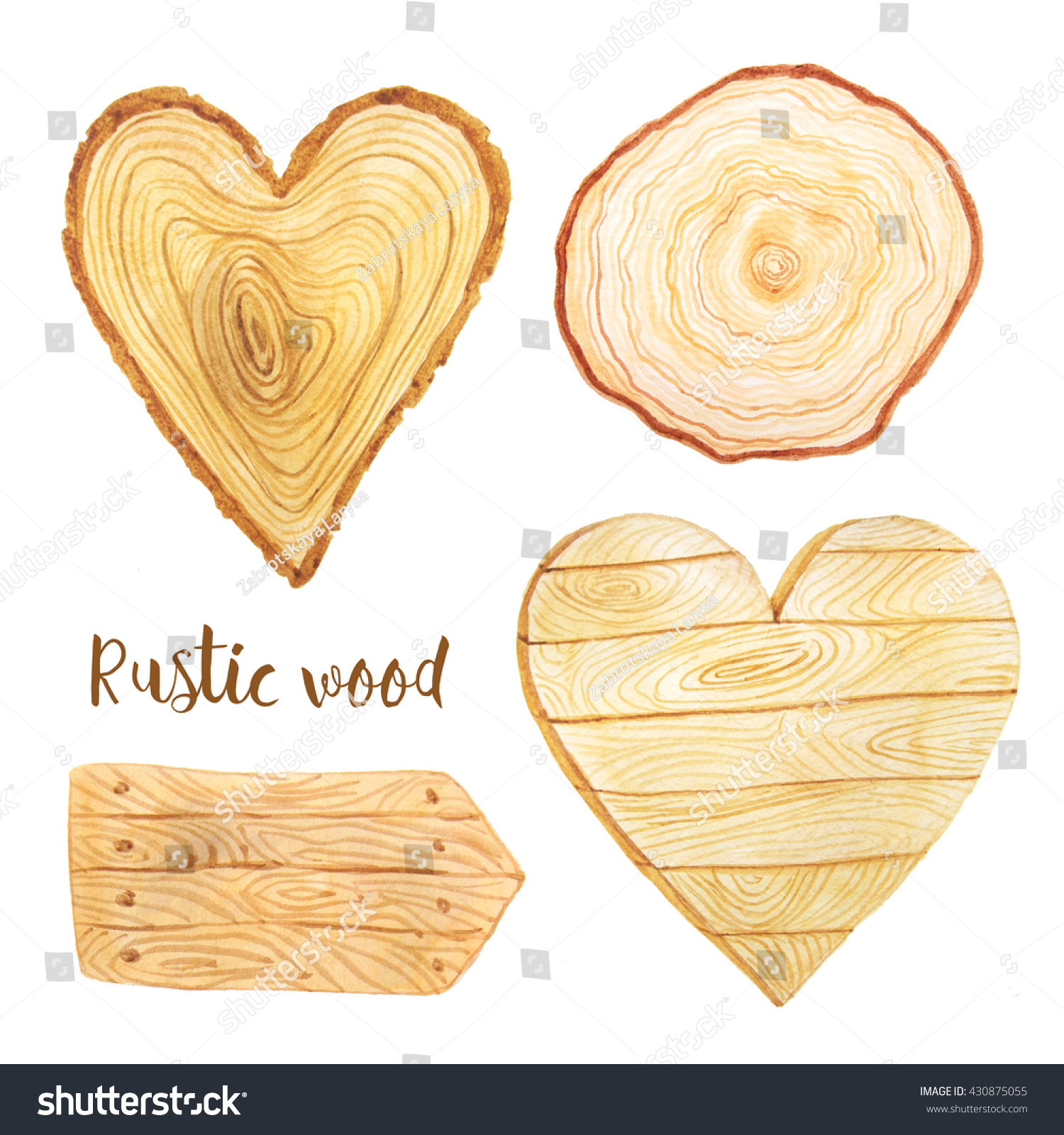 Watercolor Hand Painted Heart Wood Slices Stock Illustration