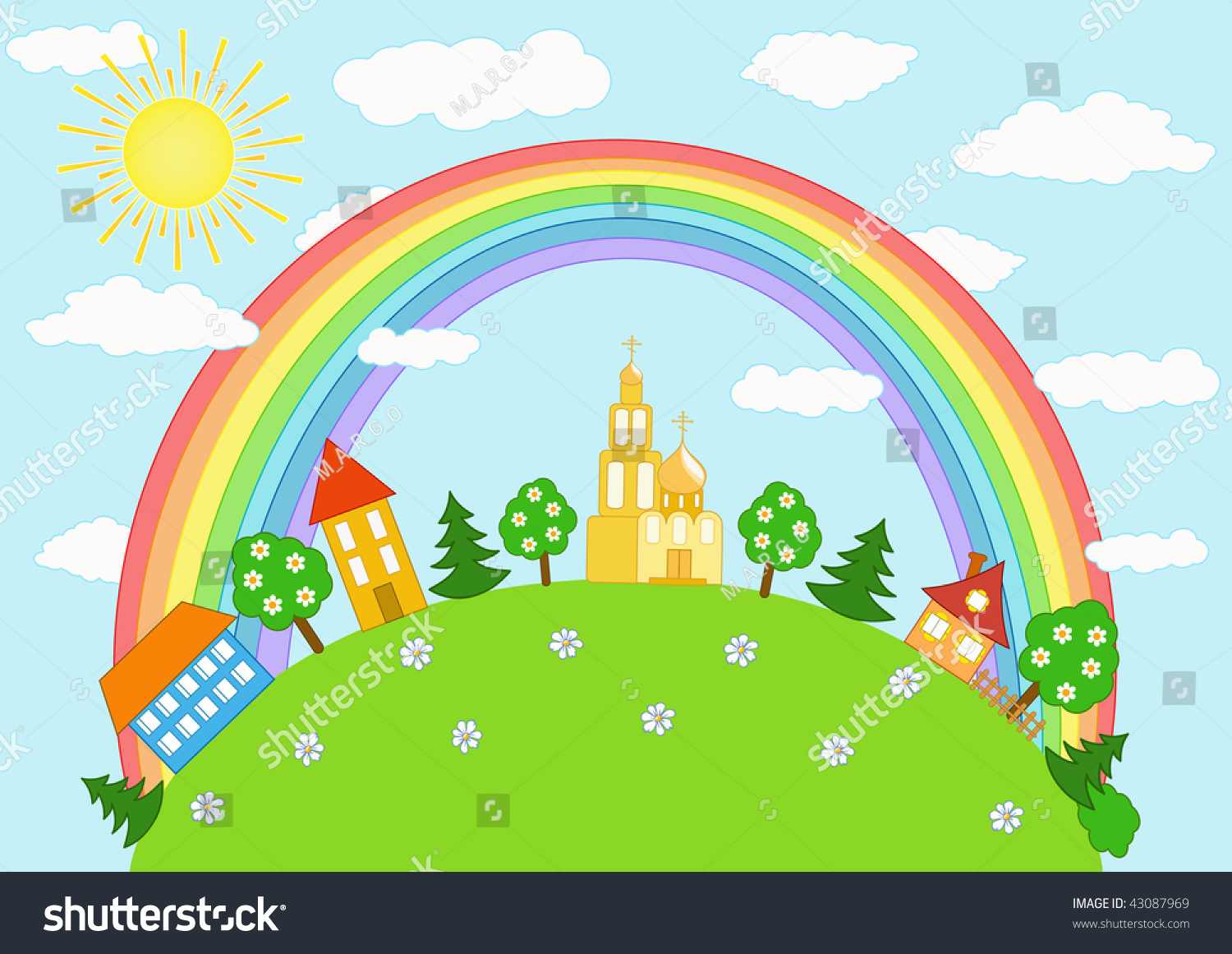 Baby Landscape Rainbow Vector Illustration Stock Vector