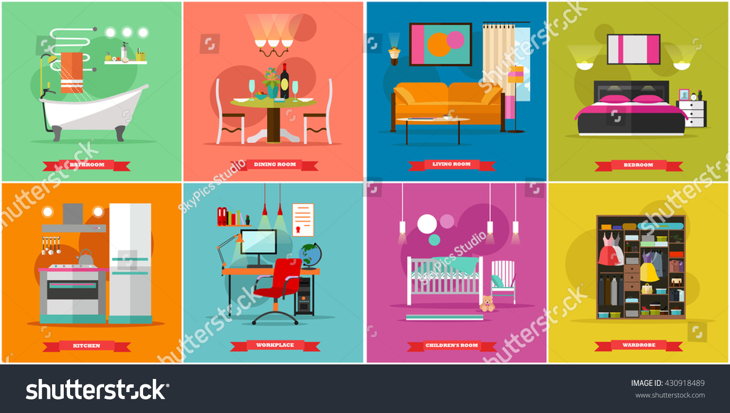 Superior Home Interior Vector Illustration In Flat Style. House Design With Furniture,  Kitchen, Bathroom