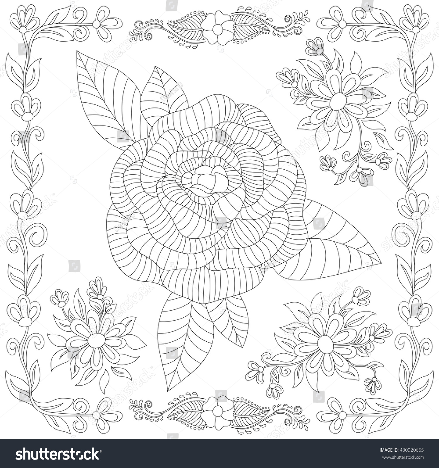 vector flower pattern set hand drawn stock vector 430920655