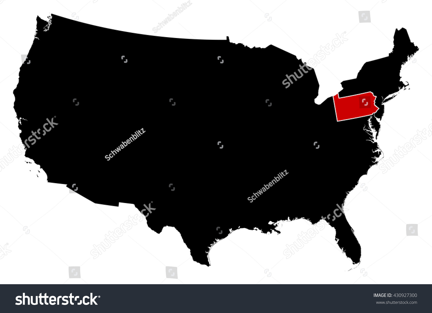 Us map states pennsylvania map of the united states 1848 us map states pennsylvania map united states pennsylvania stock vector 430927300 shutterstock sciox Image collections