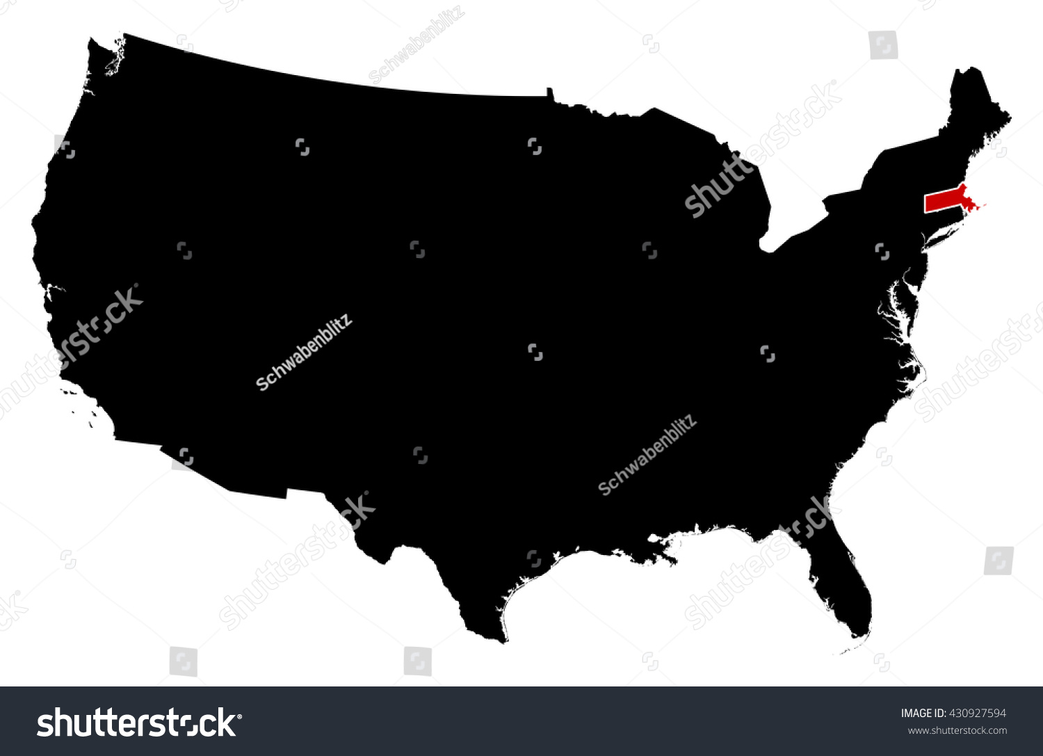 Map United States Massachusetts Stock Vector Shutterstock - Massachusetts us map