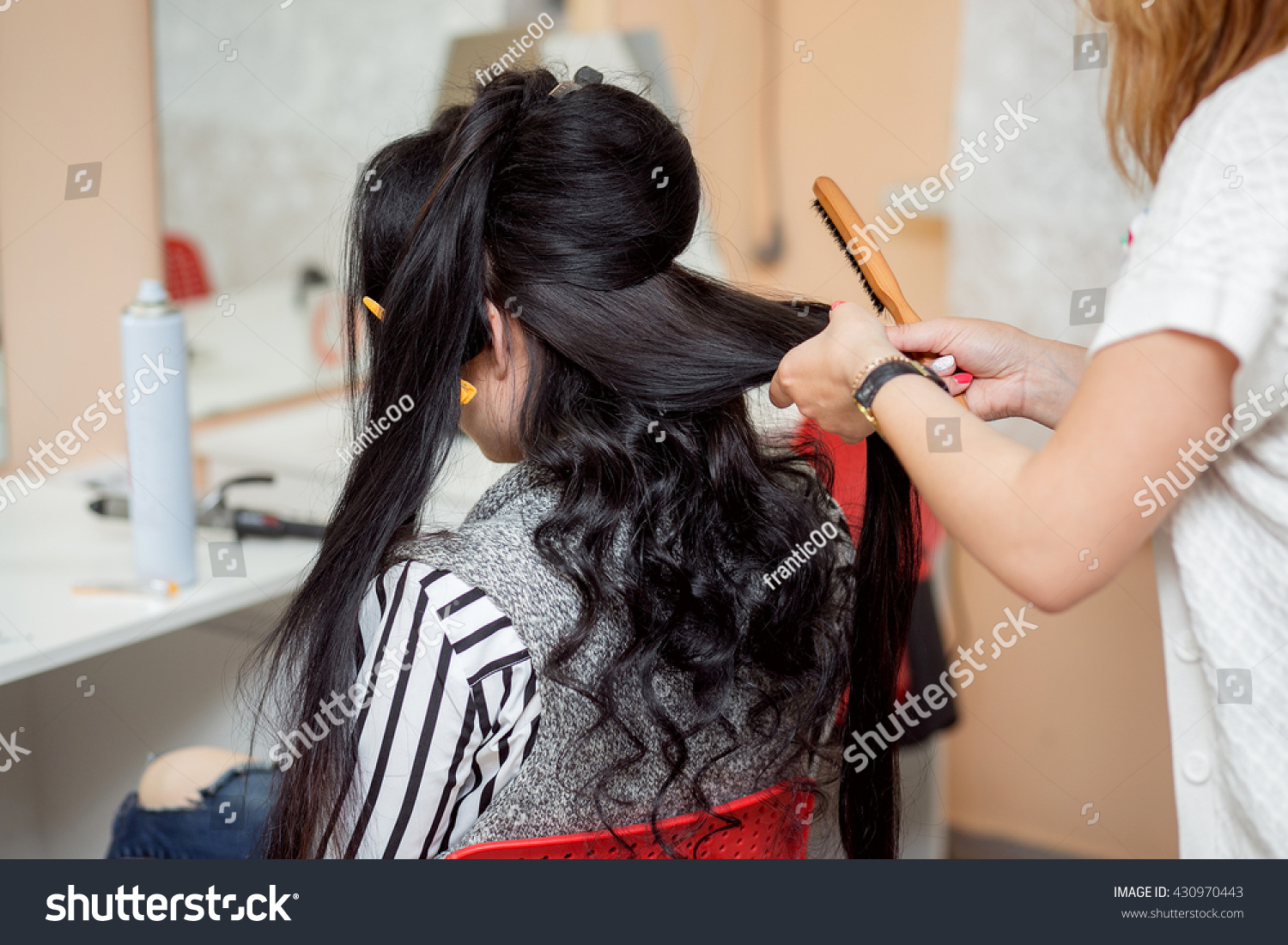 Barber Makes Evening Wedding Hairstyle Long People Stock Image 430970443