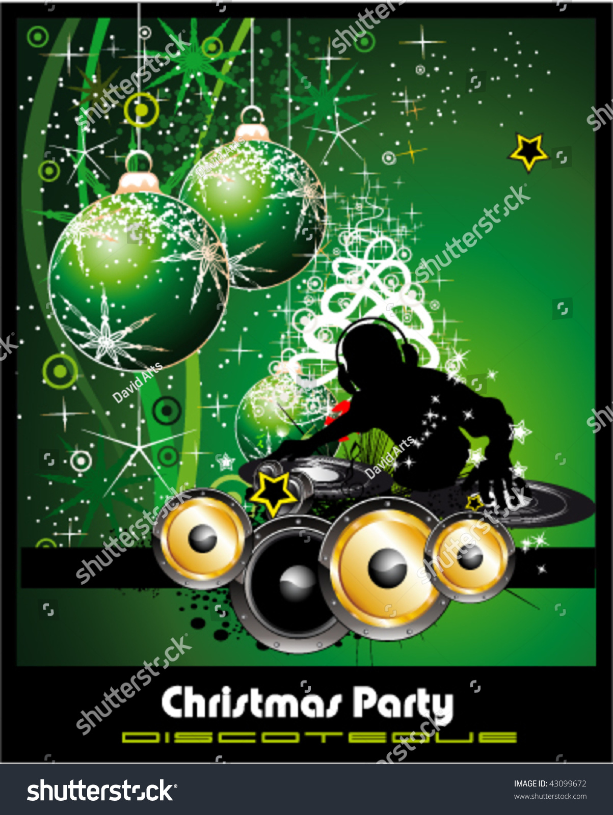 Christmas Colorful Disco Party Flyer Background Stock Vector ...