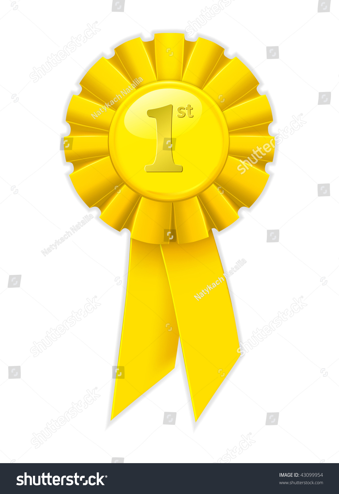 First Place Yellow Ribbon Vector Stock Vector 43099954 - Shutterstock