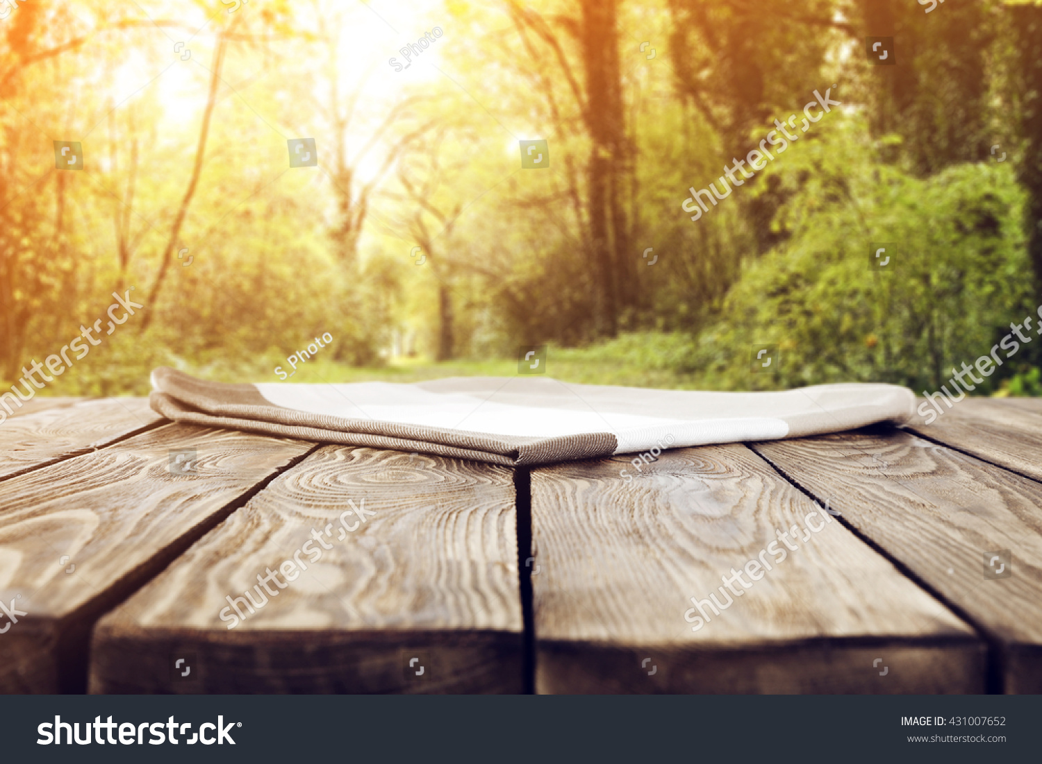 Picnic table background - Summer Garden Background With Few Trees And Green Grass And Picnic Table
