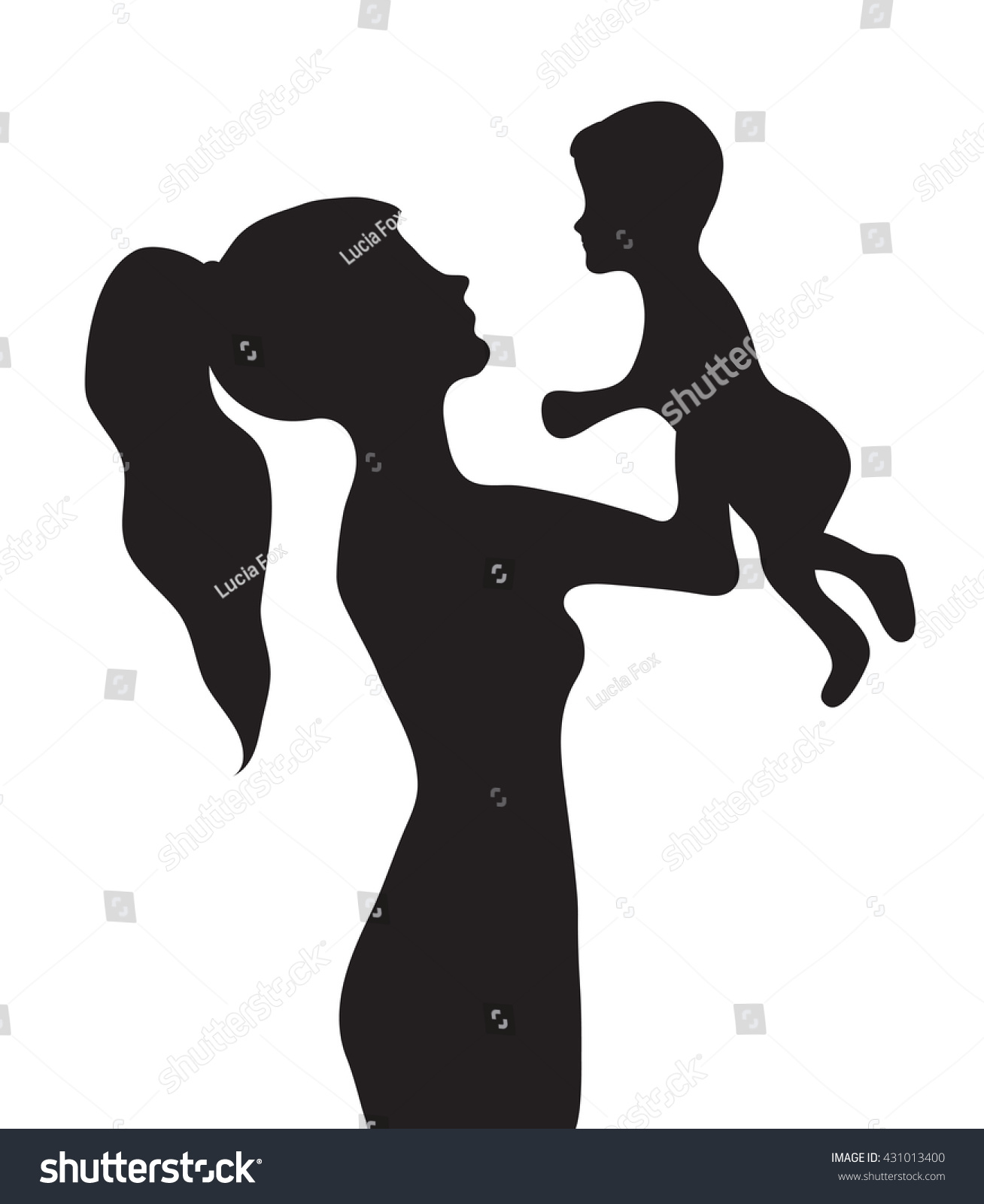 woman baby silhouette girl holding baby lagervektor