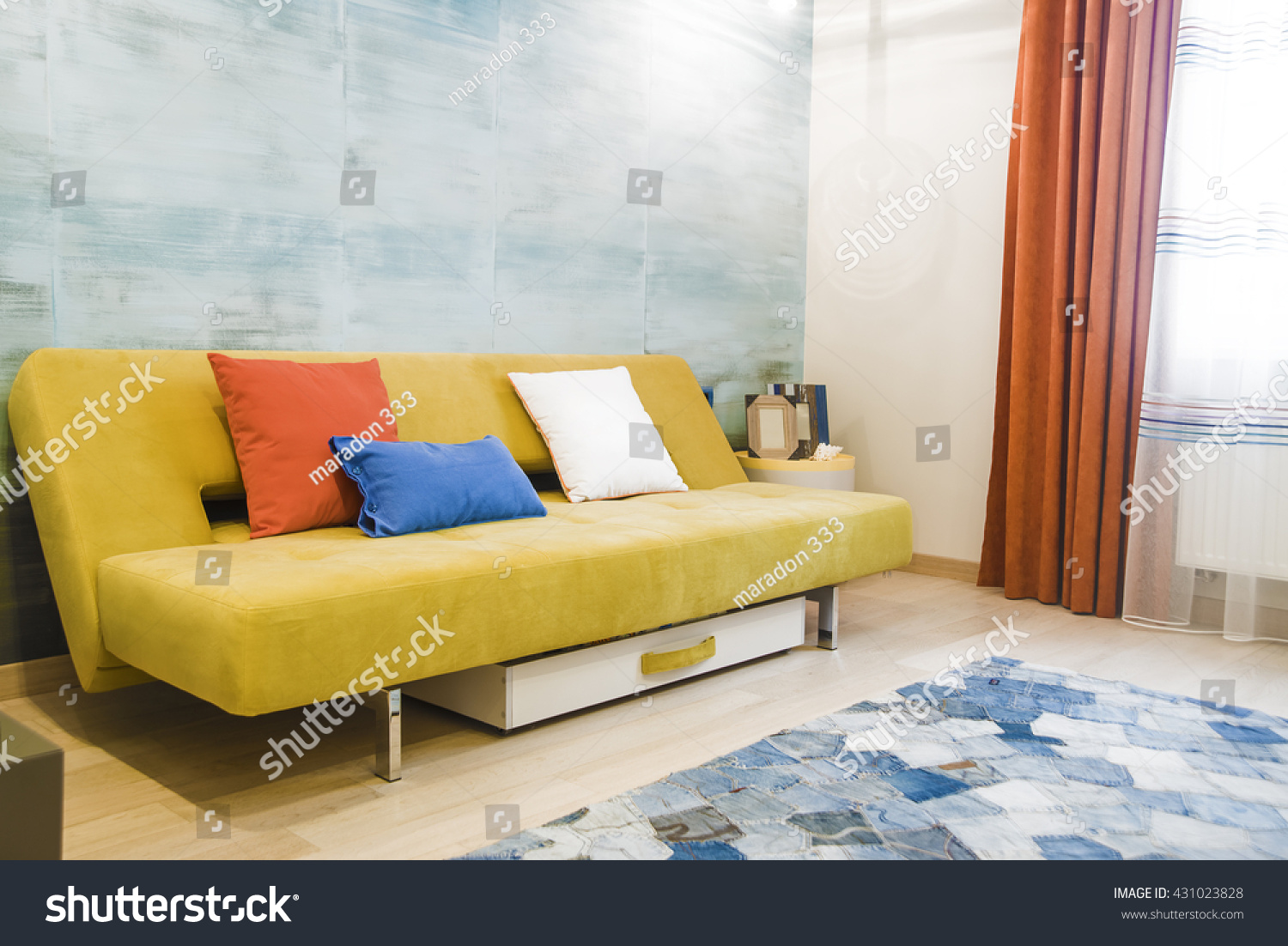 Interior Background Yellow Brown Sofa Colorful Stock Photo (Royalty ...
