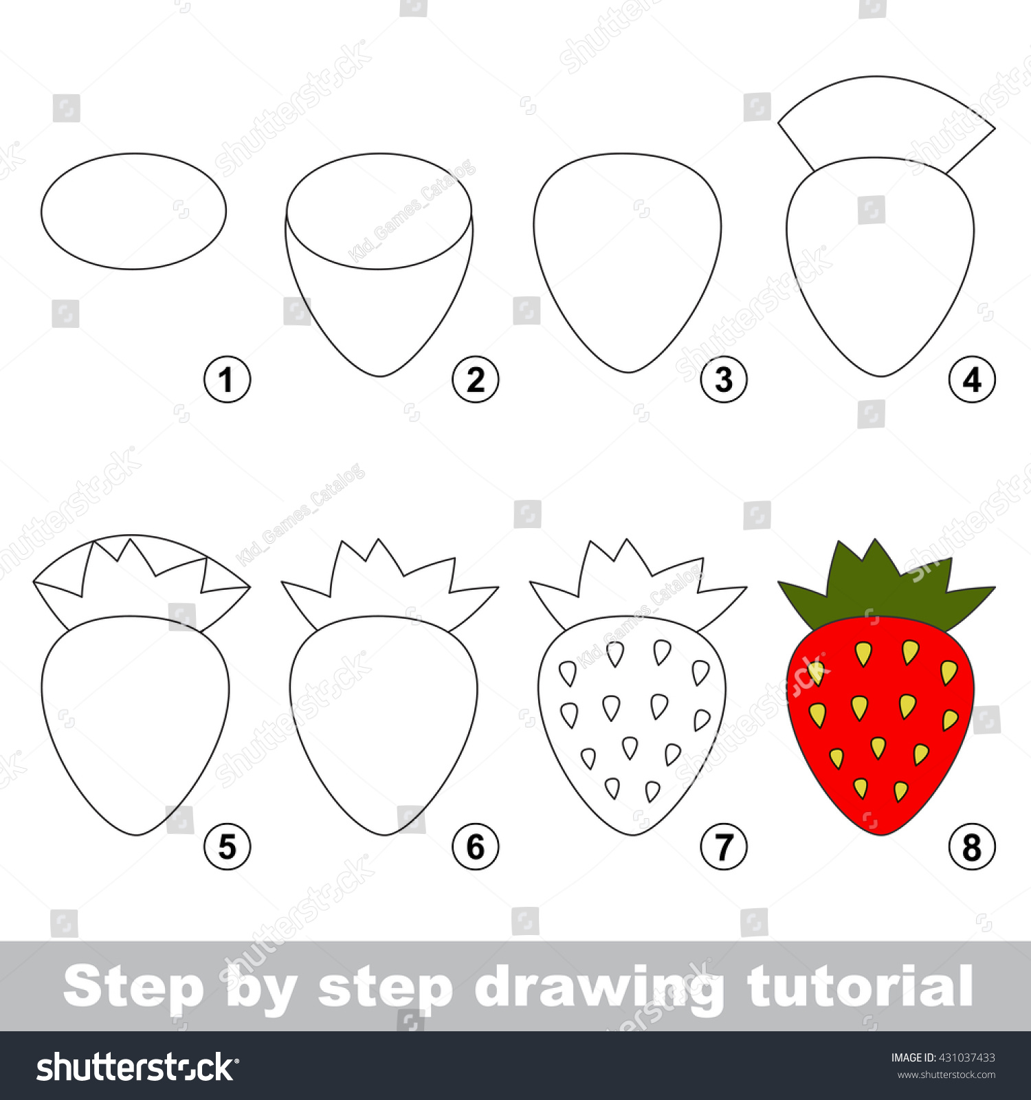 Uncategorized Drawing Of Strawberry drawing tutorial children easy educational kid stock vector for game simple level of difficulty kid
