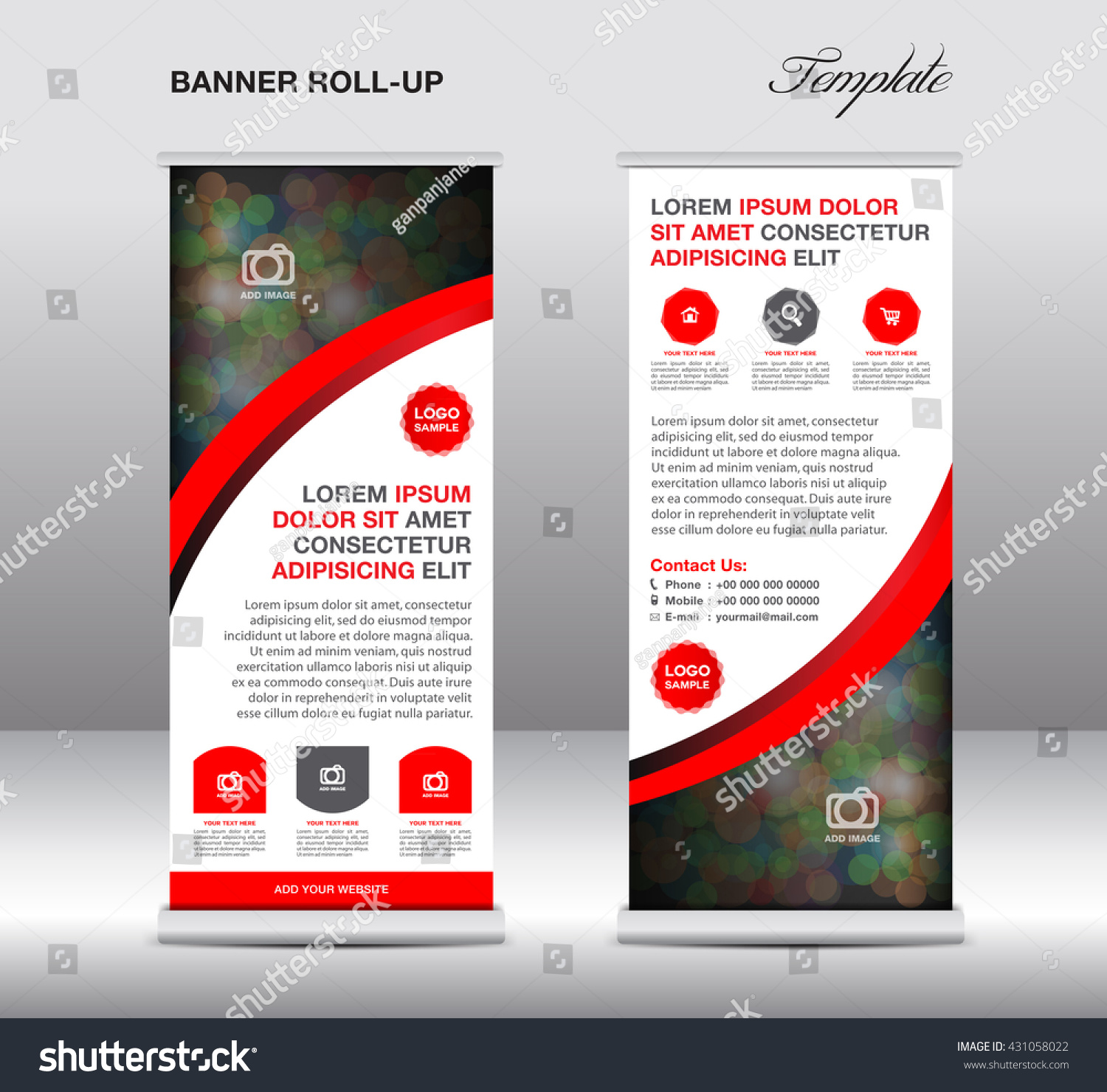 roll up banner stand template stand design advertisement flyer red roll up banner stand template vector illustration advertisement display flyer design
