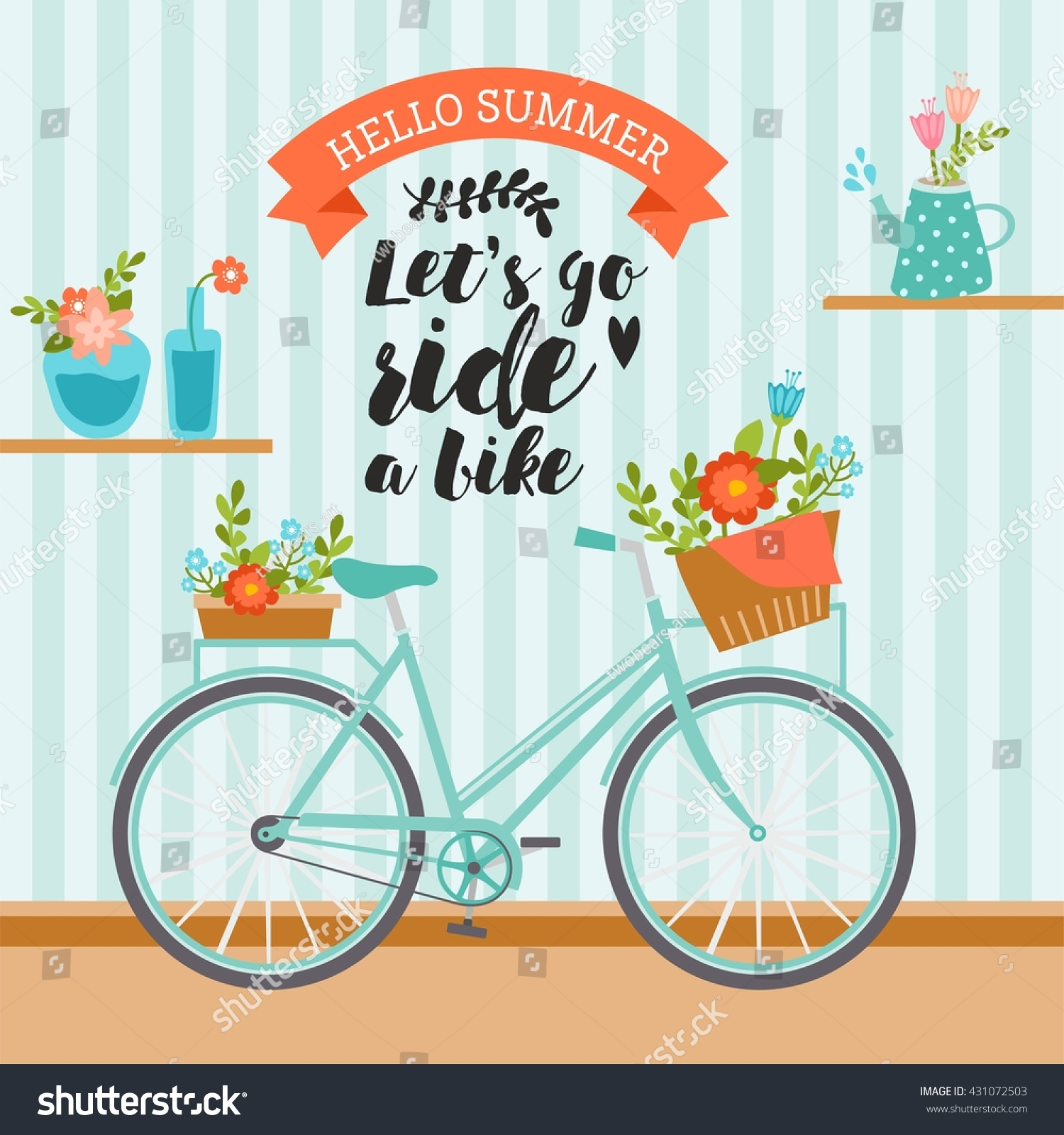 Lets Go Ride Bike Awesome Summer Stock Vector 431072503 Shutterstock