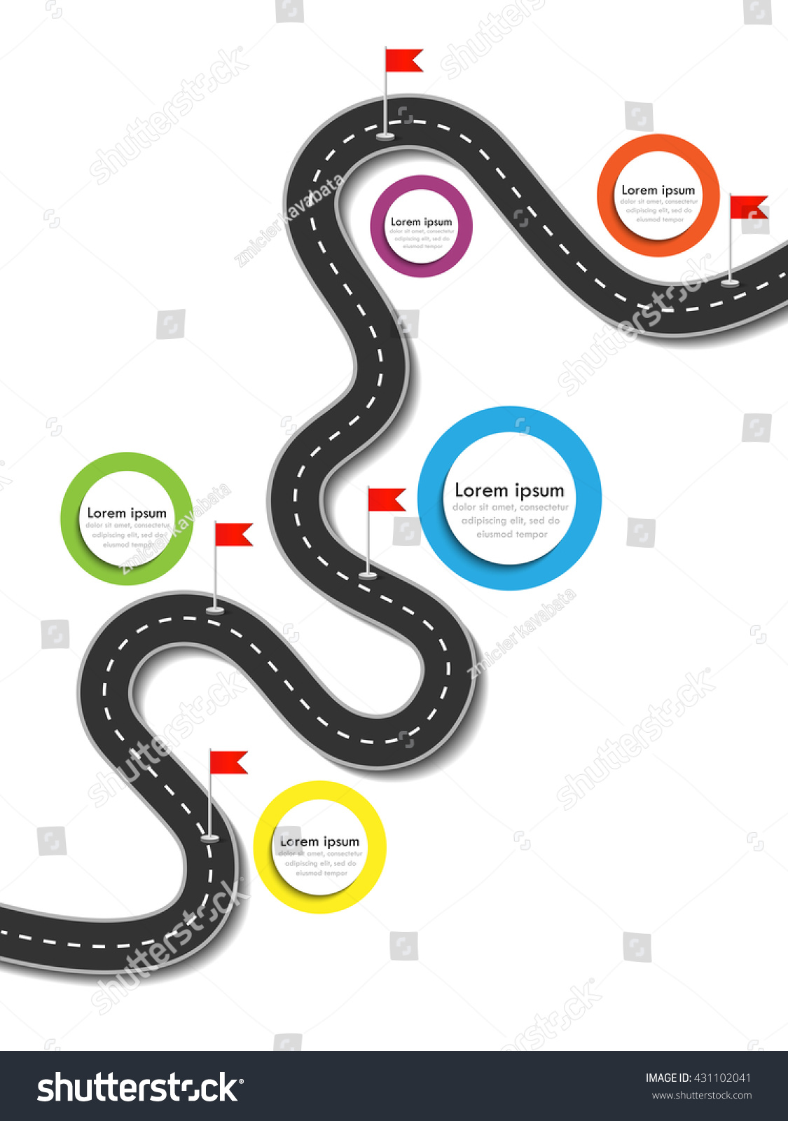 Road Trip Journey Route Business Journey Stock Vector ...