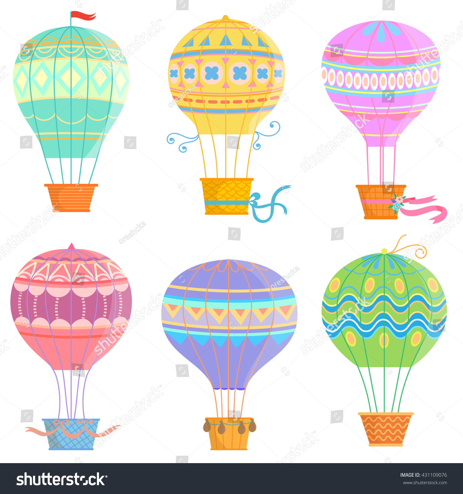 Set Colorful Hot Air Balloon Vector Stock Vector 431109076 ...