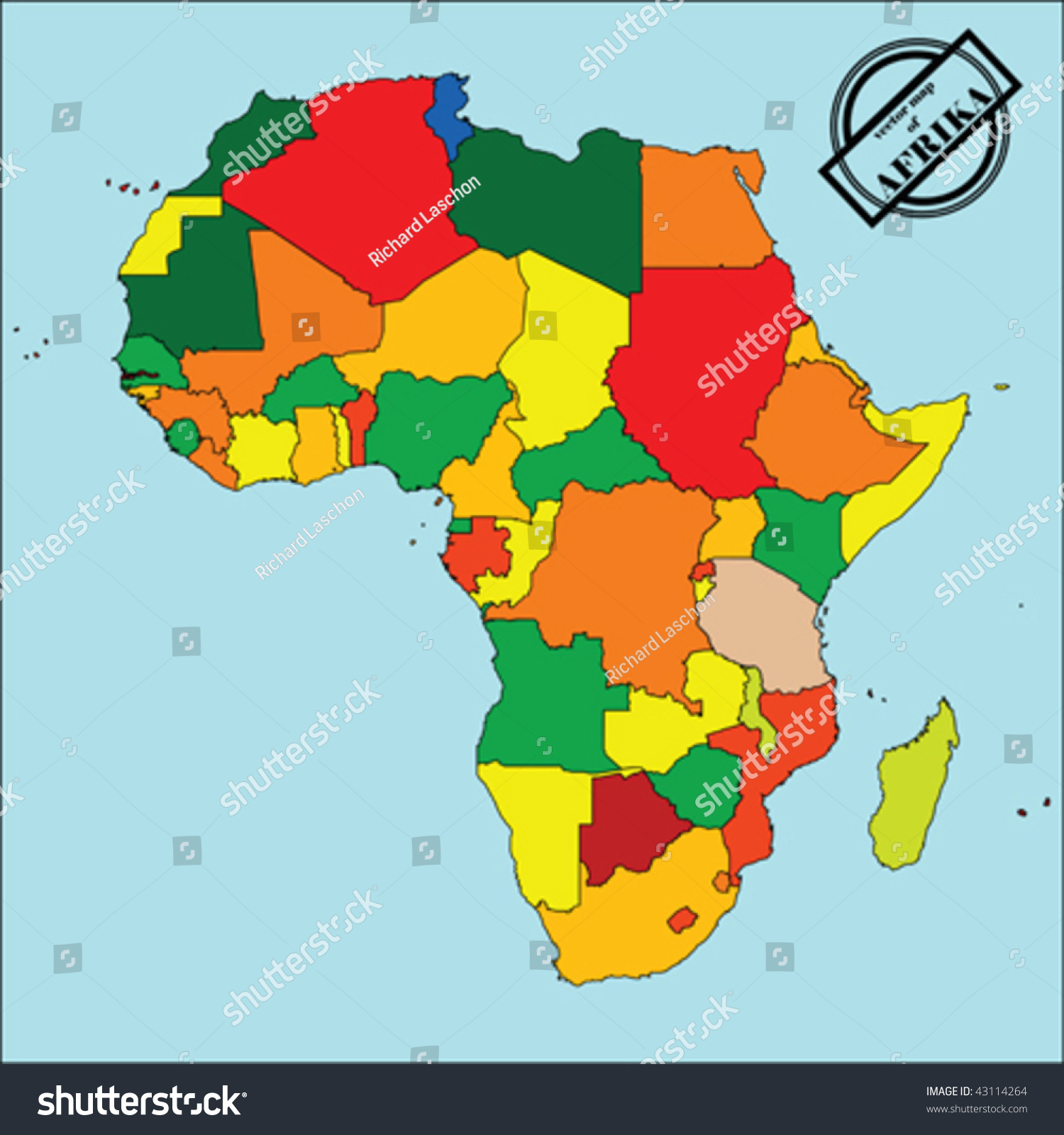 Political Map Africa Colors Easy Edit Stock Vector - African countries map