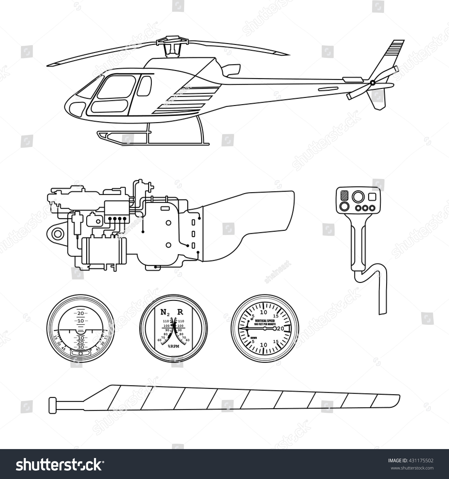 Helicopter Parts Illustration Agcrewall Helicopterpartsdiagramnomenclature Robinson Helicopters Heli Repair Maintenance Set Stock