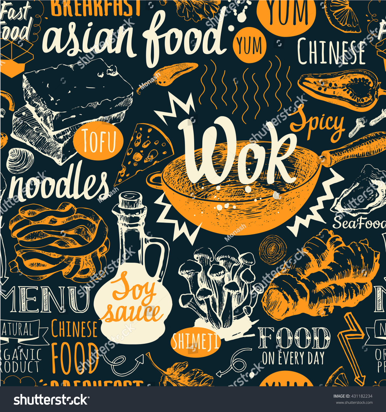 seamless background wok food symbols menu stock vector royalty free