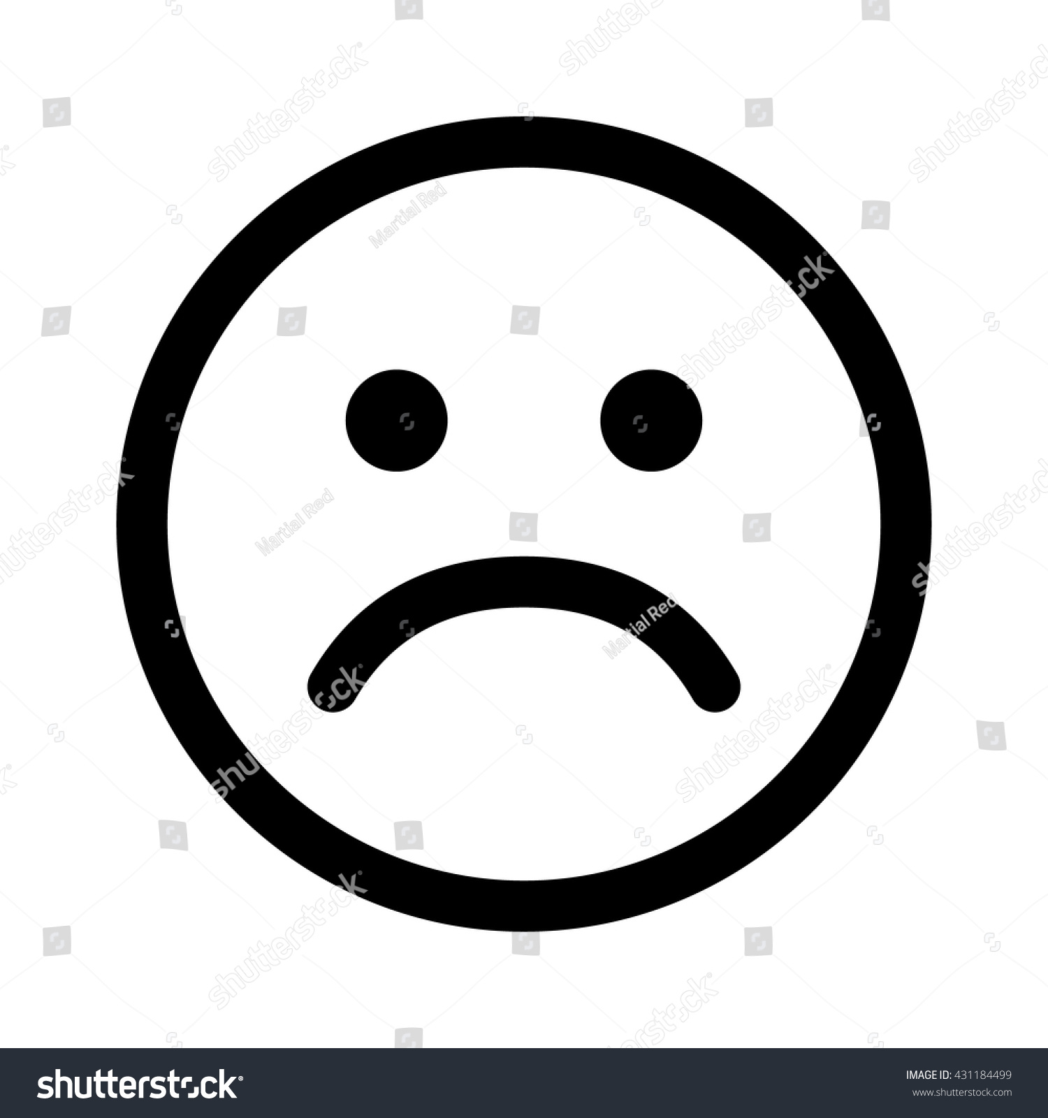Line Drawing Of Sad Face : Sad smiley face emoticon line art icon for apps and