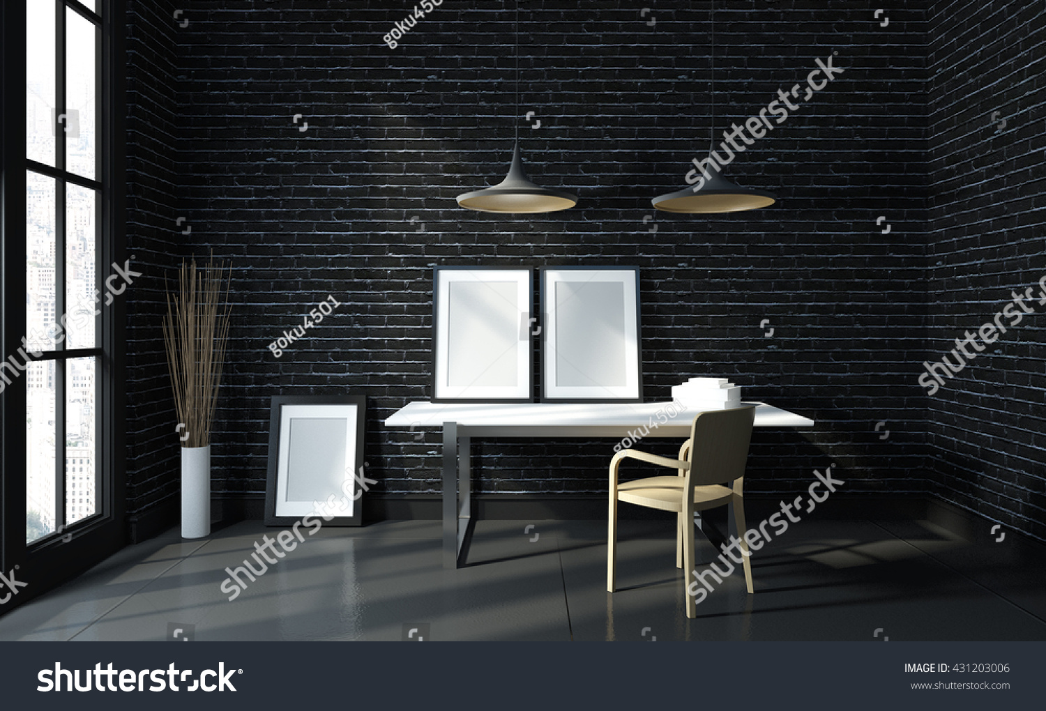 modern black brick workspace template mock stock photo 431203006 shutterstock. Black Bedroom Furniture Sets. Home Design Ideas