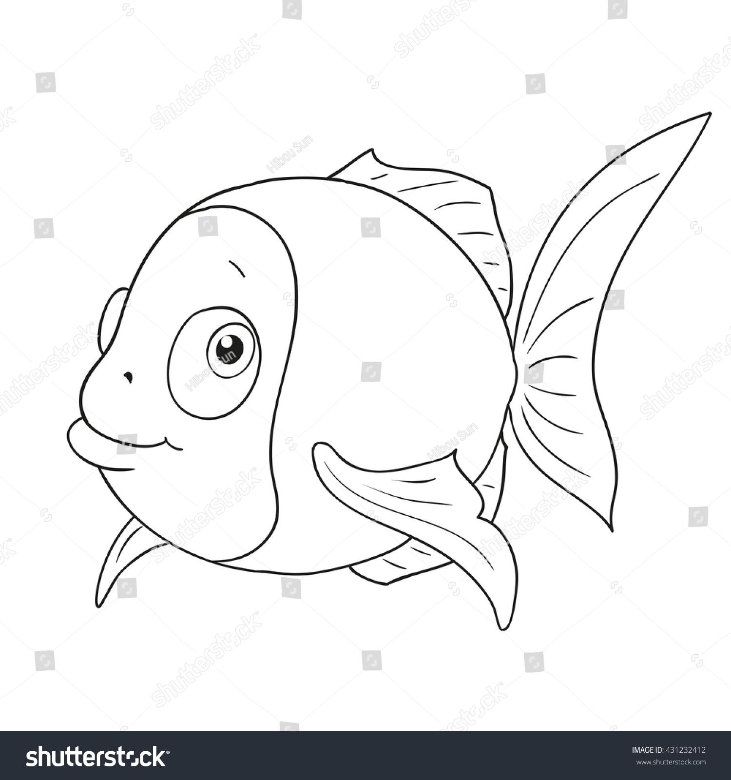 cartoon character funny fish cute fish stock vector 431232412
