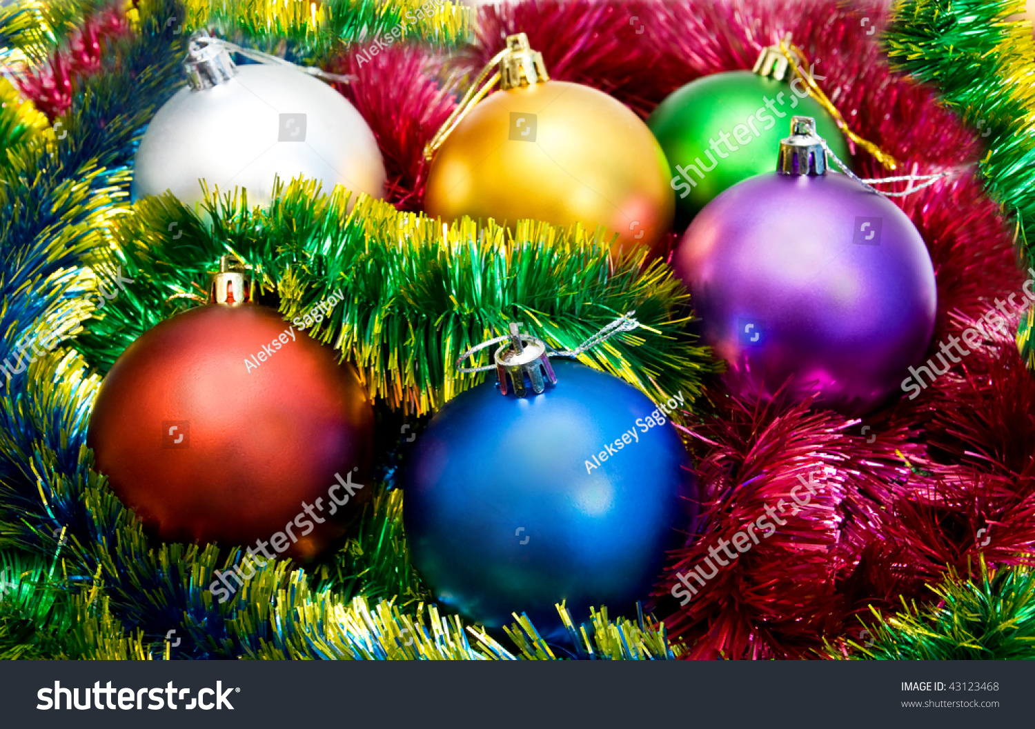 Multicolored Christmas Tree Balls Tinsel Stock Photo (Royalty Free ...