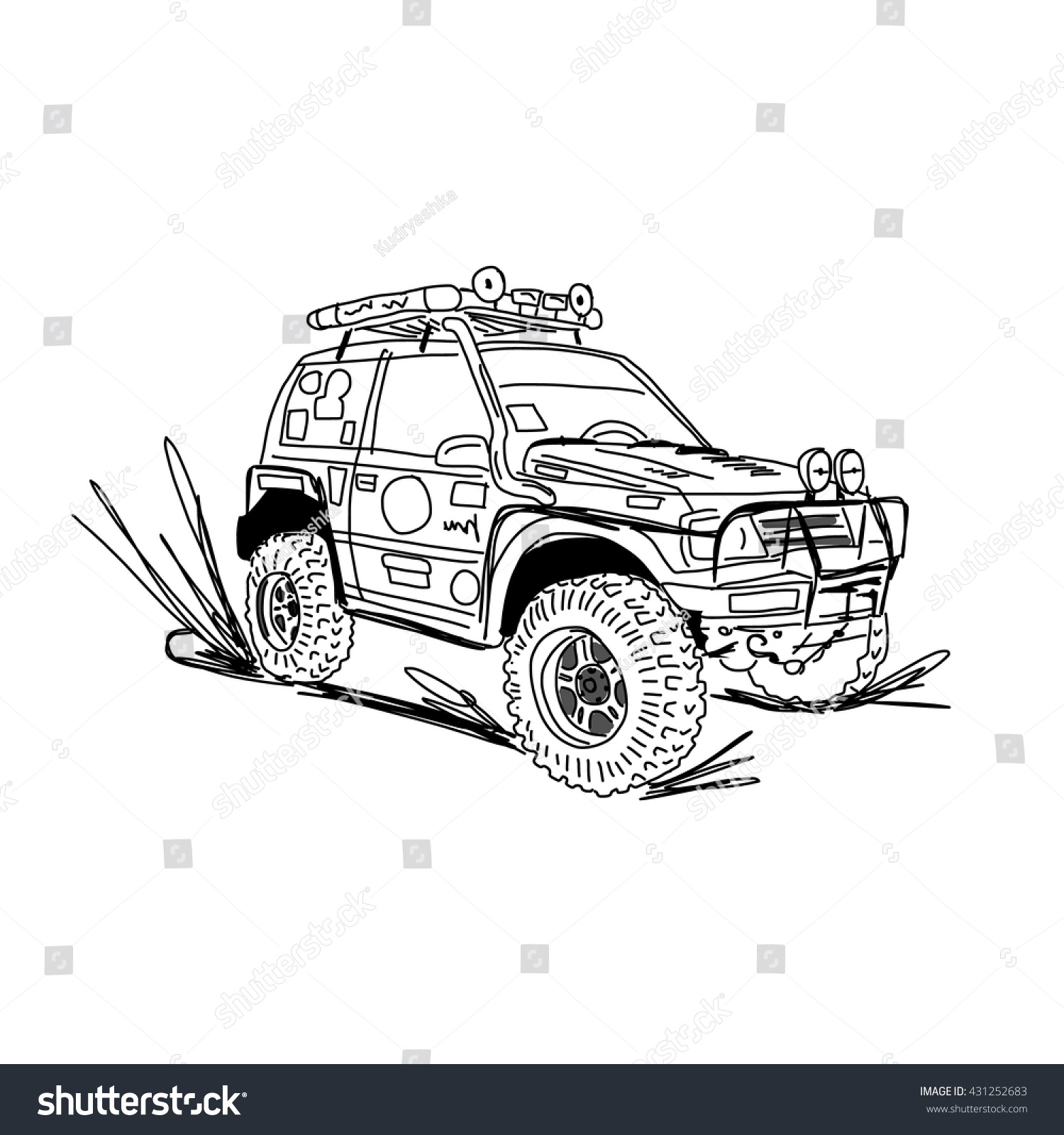 Tuned Suv Car Sketch Your Design Stock Vector Shutterstock