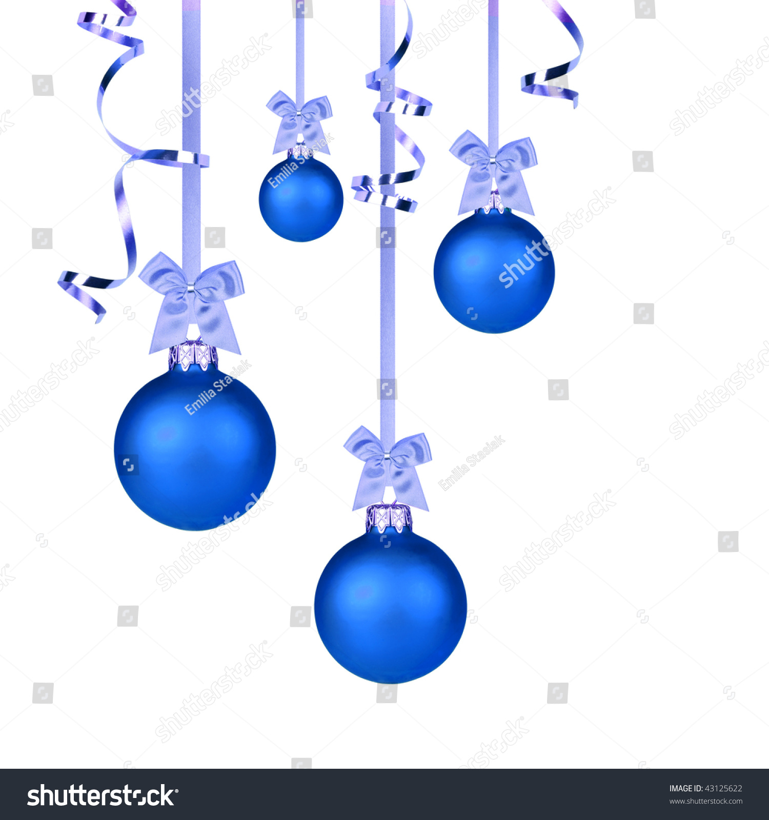 Blue Christmas Baubles Hanging With Ribbons On White