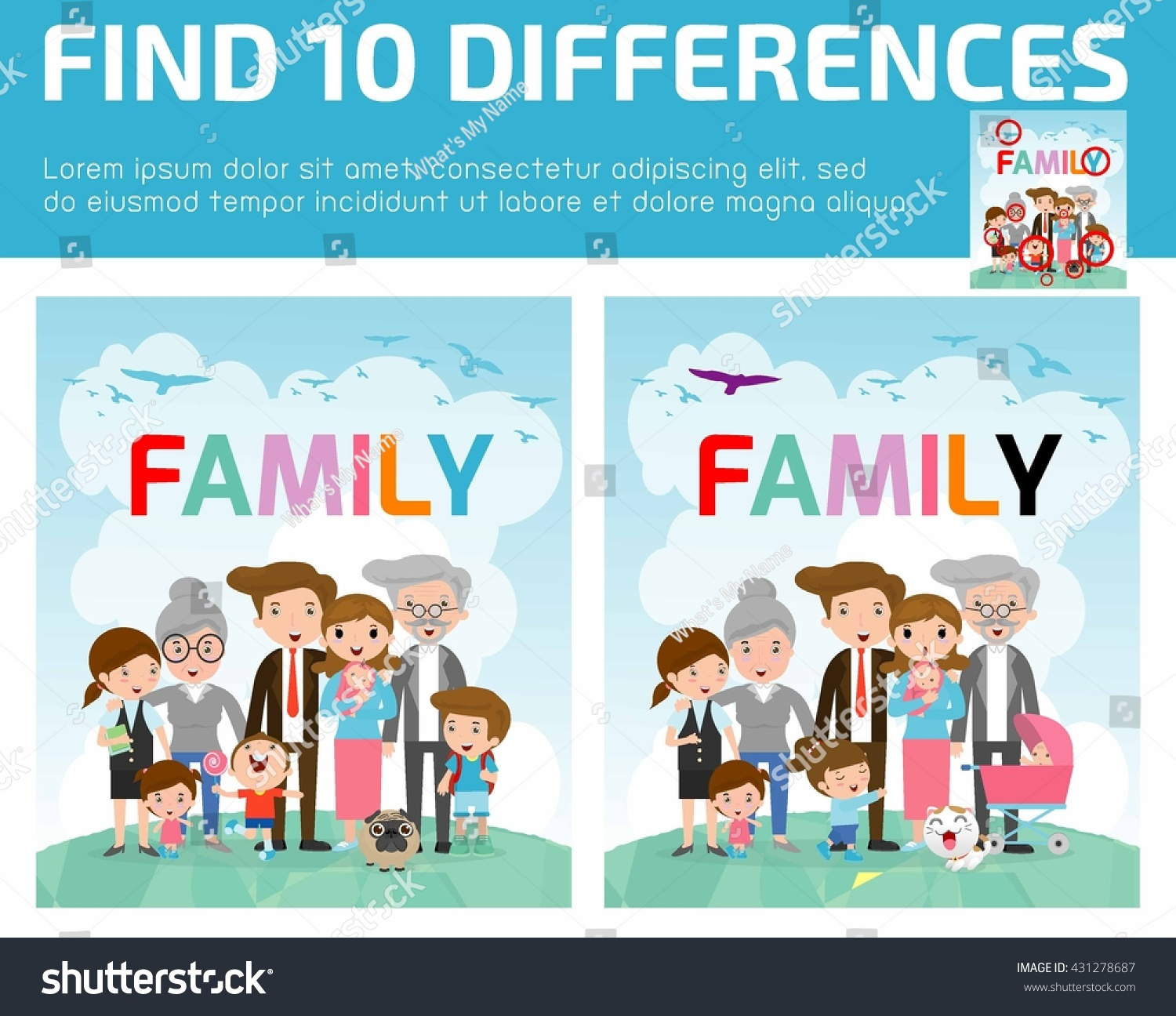 Find Differencesgame Kids Find Differencesbrain Games Stock Vector