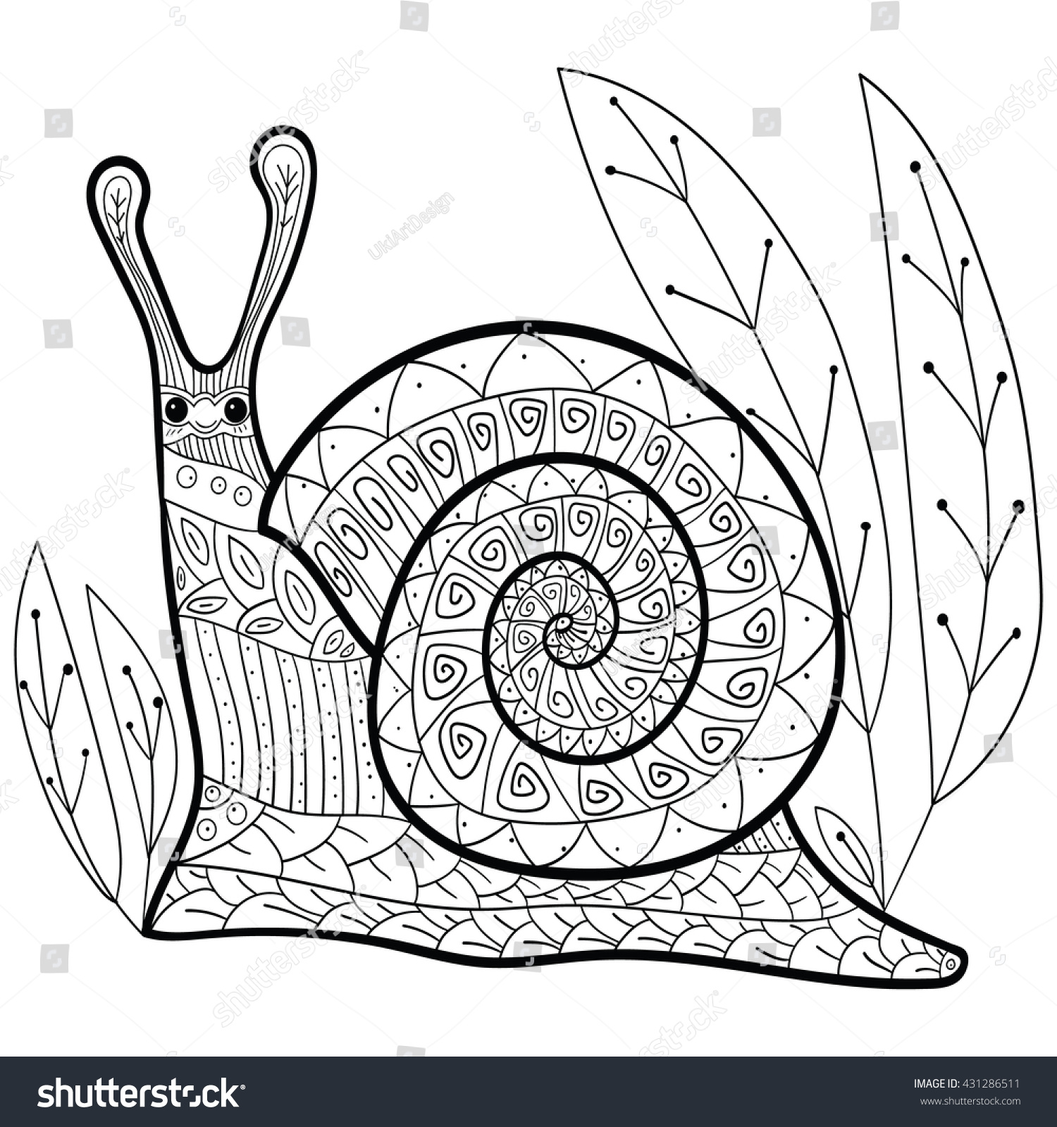 Adult Coloring Page Cute Snail Vector Stock Vector 431286511 ...