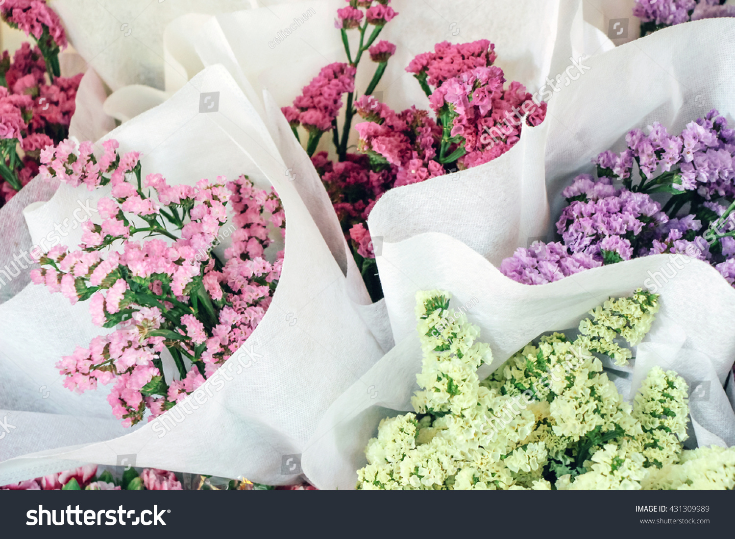 Colorful Flower Bouquets Wrapped White Paper Stock Photo Royalty