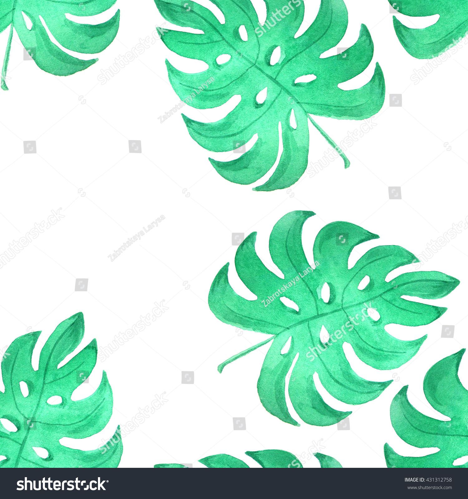 Seamless pattern watercolor green tropical leaves stock for Watercolor greenery