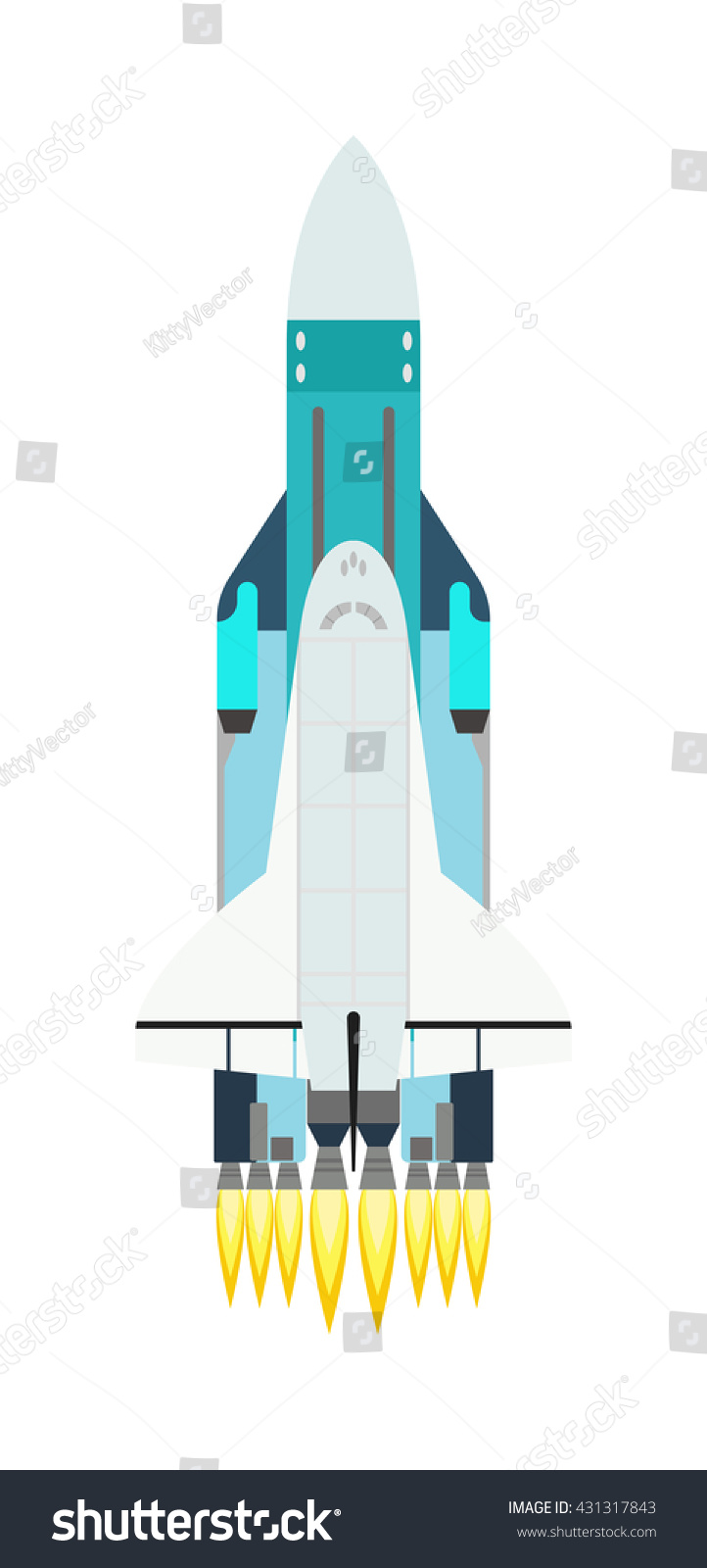 vector rocket isolated on white technology stock vector 431317843