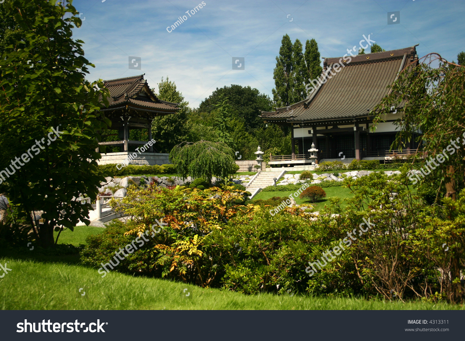 Buddhist Ceremony Traditional Japanese Garden: Traditional Japanese Garden With Buddhist Temple And Bell
